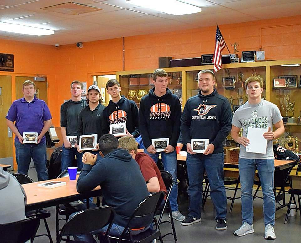Pictured are, from left, Chester football team award winners Garrett Welker (Eric Skorcz Award), Curt Meyer (Elite Warrior Award), Brady Kelkhoff (Lineman Award), Calvin Clendenin (Offensive Weapon Award), Nick Meyer (Offensive MVP), Chase Colvis (Defensive Weapon Award) and Nick Heffernan (Defensive MVP).