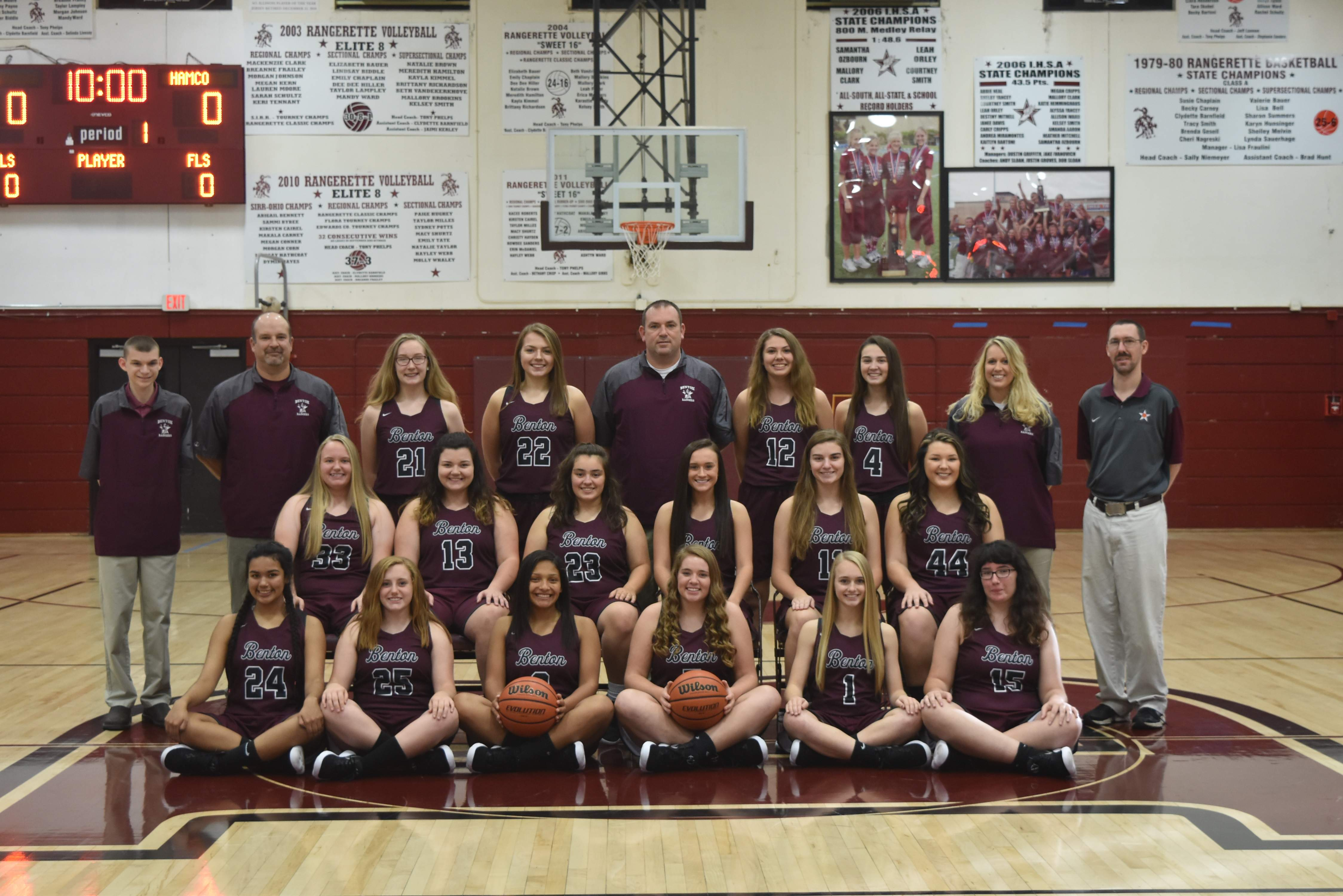 The Benton Rangerettes team, with players Eb Casey; Cailyn Fowlkes; Mady Wallace; Addisyn Miller; Zoe Carlton; Ember Milby; Sesley Tedeschi; Macie Cockrum; Madison Lingle; Payton Thomas; Kelsey Wilcox; Baylie Sawyer; Mary Martinez; Katie Hill; Olivia Wilkey and Kady Johnson.