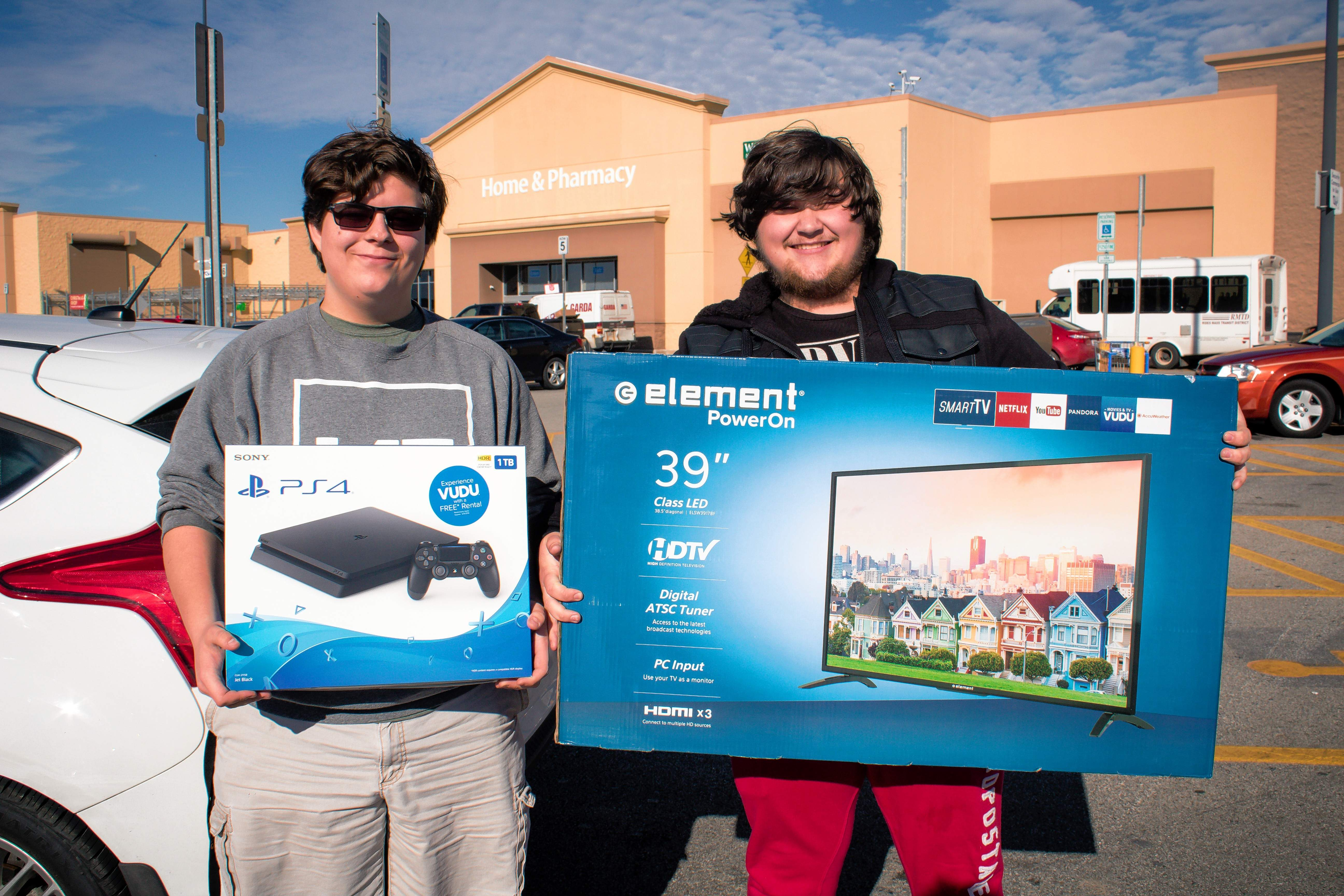 Joseph Gross of Herrin and Tommy Dunn of Marion show off some purchases.