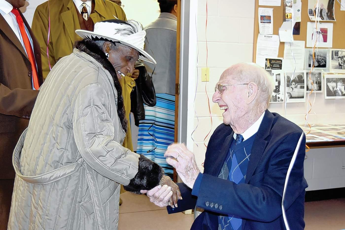 Mayor Bob Butler congratulates Dorothy Carter on her 99th birthday earlier this year.