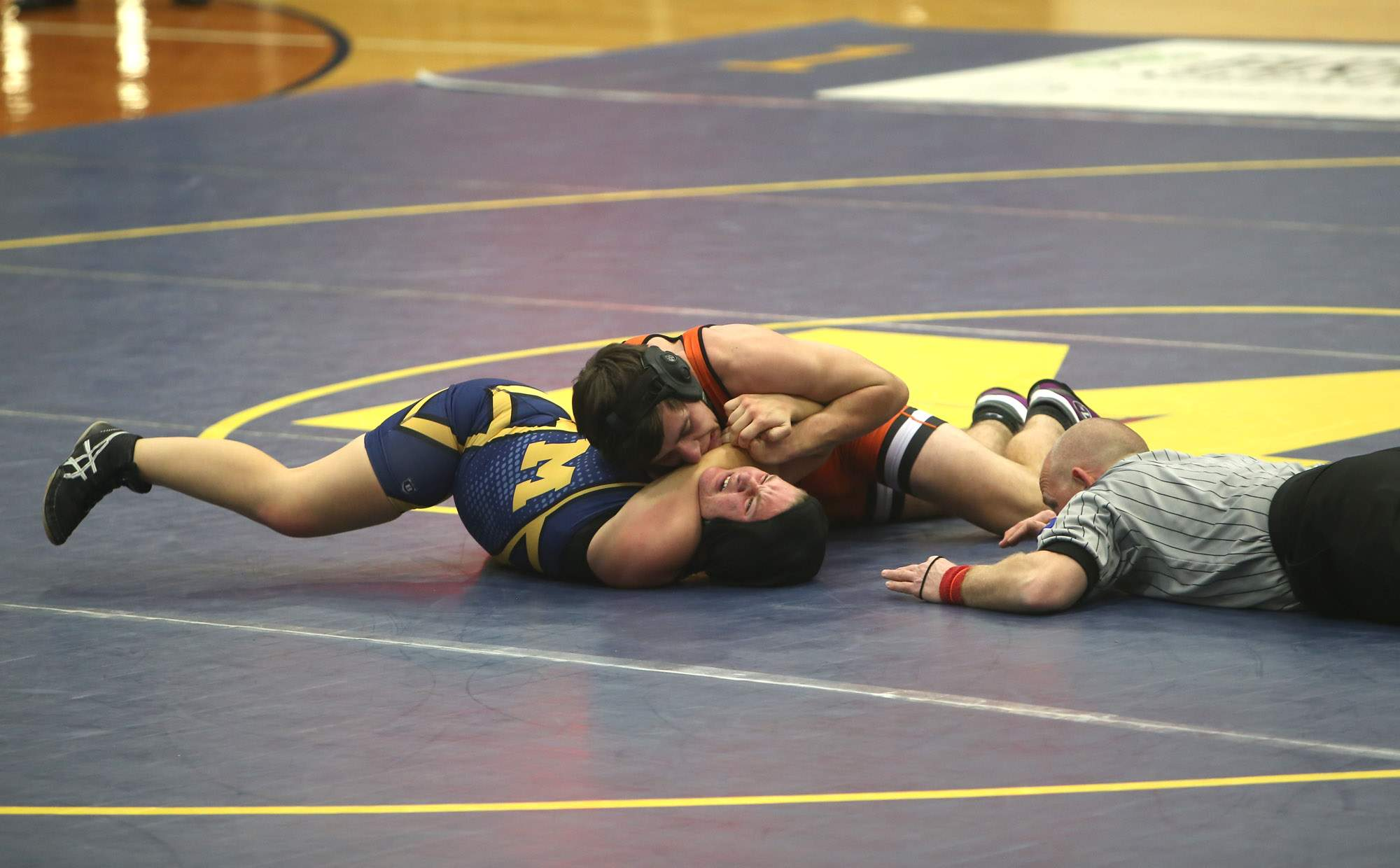 Jade Nappier tries to avoid a pin.