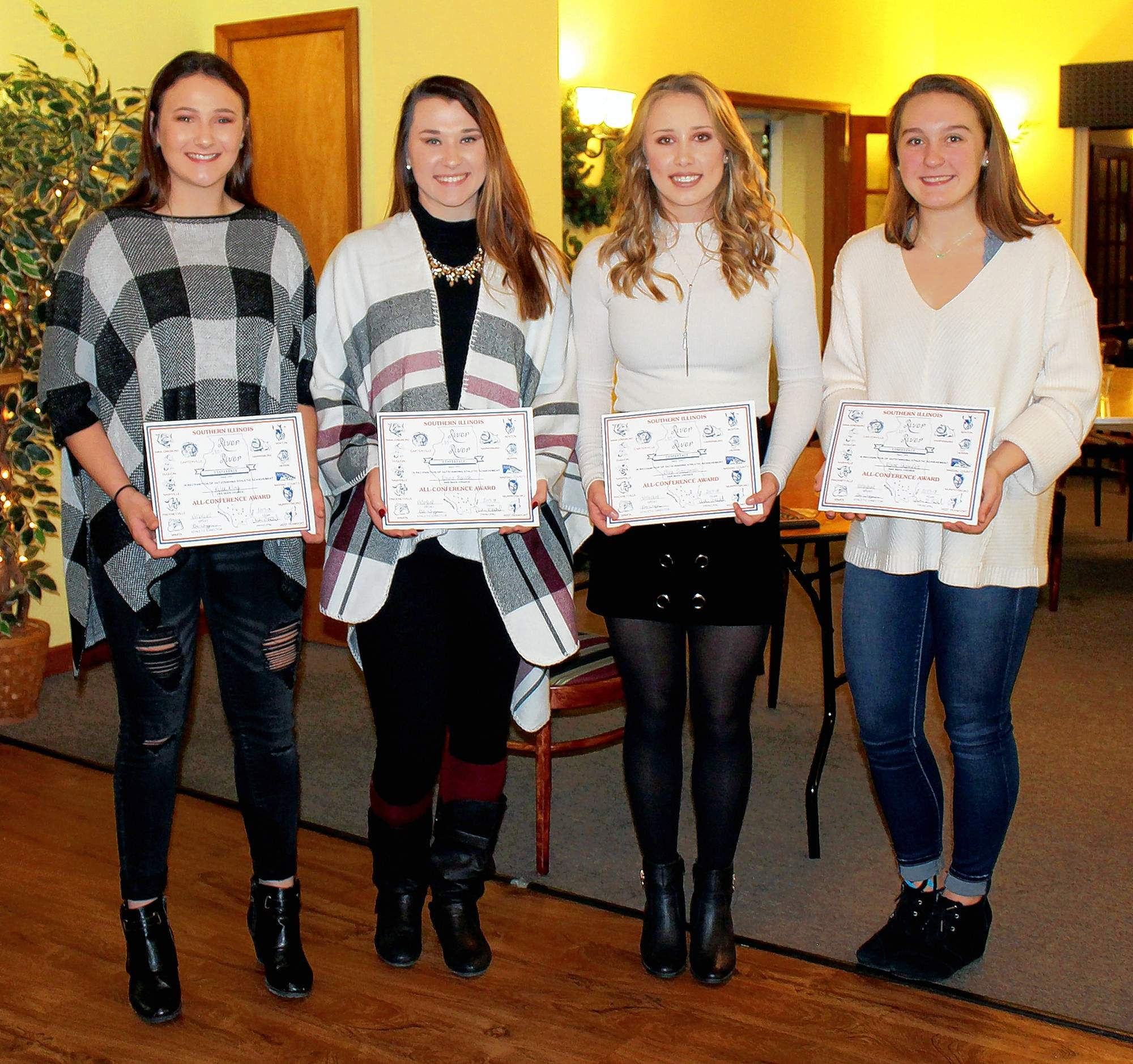 SIRR Mississippi Division All-Conference members, from left: Kylee Kling, Emma Banach, Olivia Szczepanski, Elaine Shaneyfelt. Kling, Banach and Szczepanski were also named All-South.