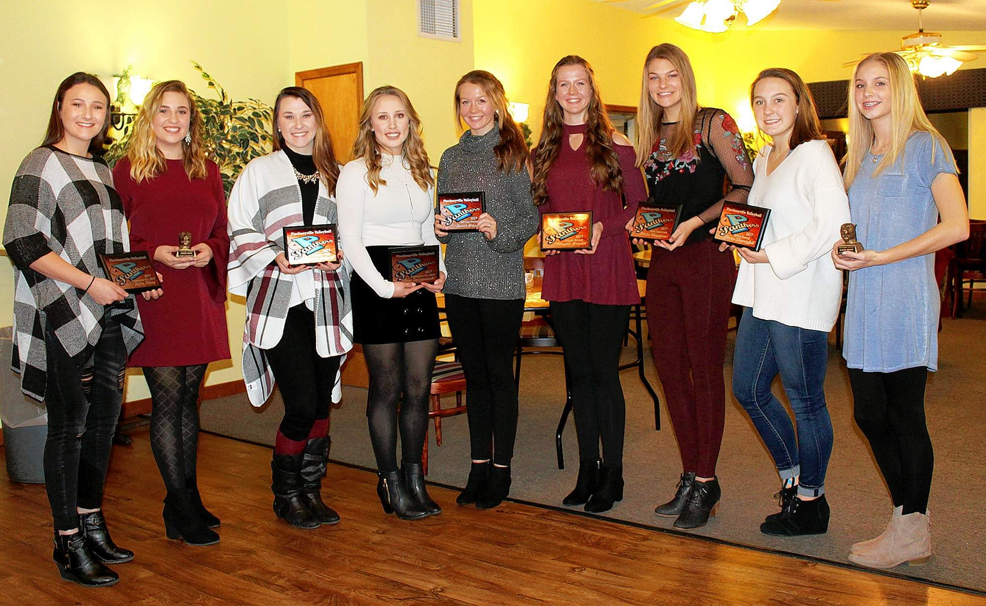 Team award winners and stat leaders recognized, from left, are: Kylee Kling, defensive MVP; Megan Mayo, winner of the Coaches' Award; Emma Banach, offensive MVP; Olivia Szczepanski, defensive MVP; Sarah Breslin, highest ace percentage while serving; Megan Breslin, highest kill percentage, attacking; Hallie Waggoner, Most Improved Player; Elaine Shaneyfelt, most assists, setting; and Alexis Hirsch, winners of the Coaches' Award.    LEFT: SIRR Mississippi Division All-Conference members are (L to R) Kylee Kling, Emma Banach, Olivia Szczepanski, Elaine Shaneyfelt.  Also, Kling, Banach and Szczepanski were also named All-South.