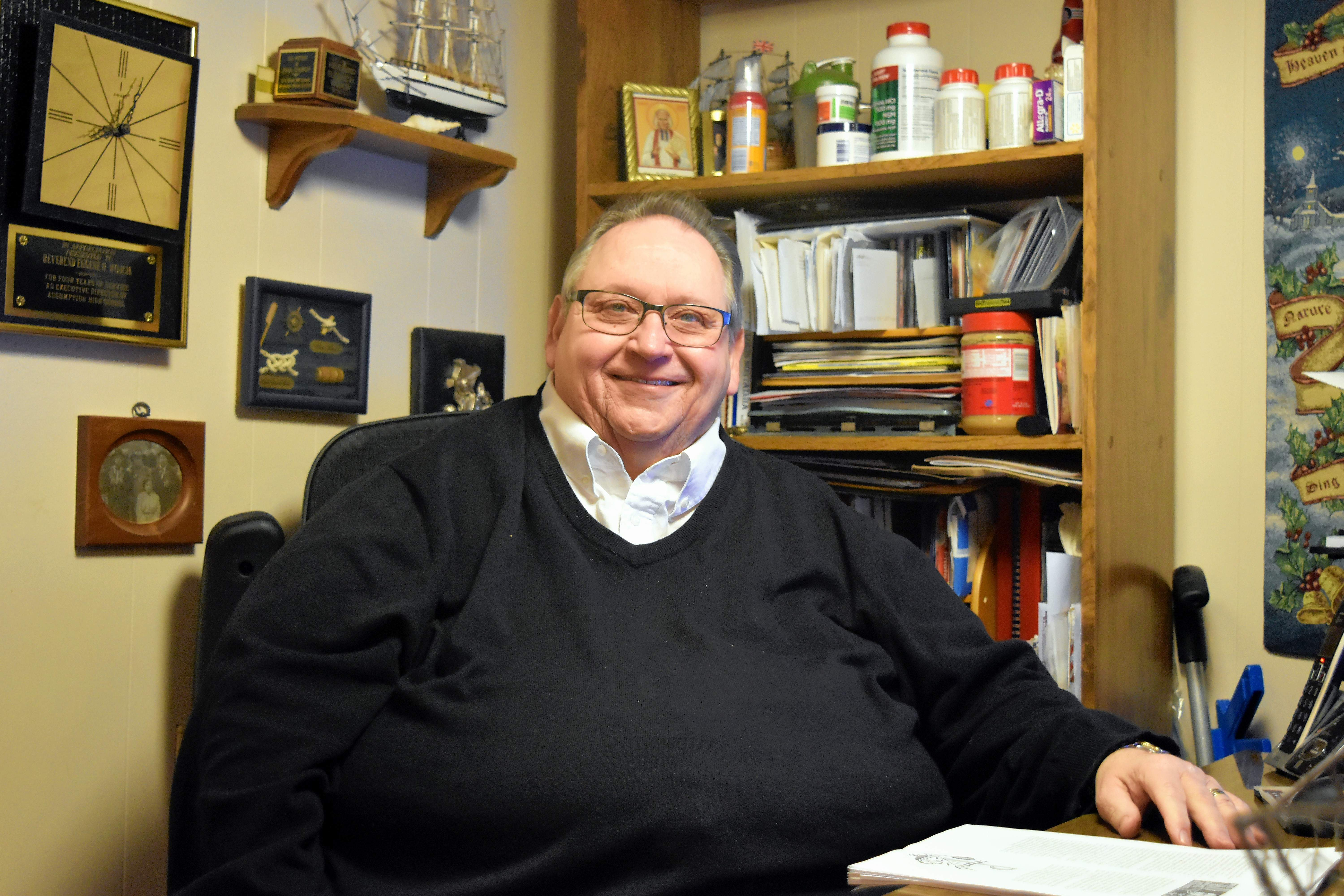 The Very Rev. Eugene Wojcik is pictured inside his home office. He will celebrate the 44th anniversary of his ordination on Jan. 5.