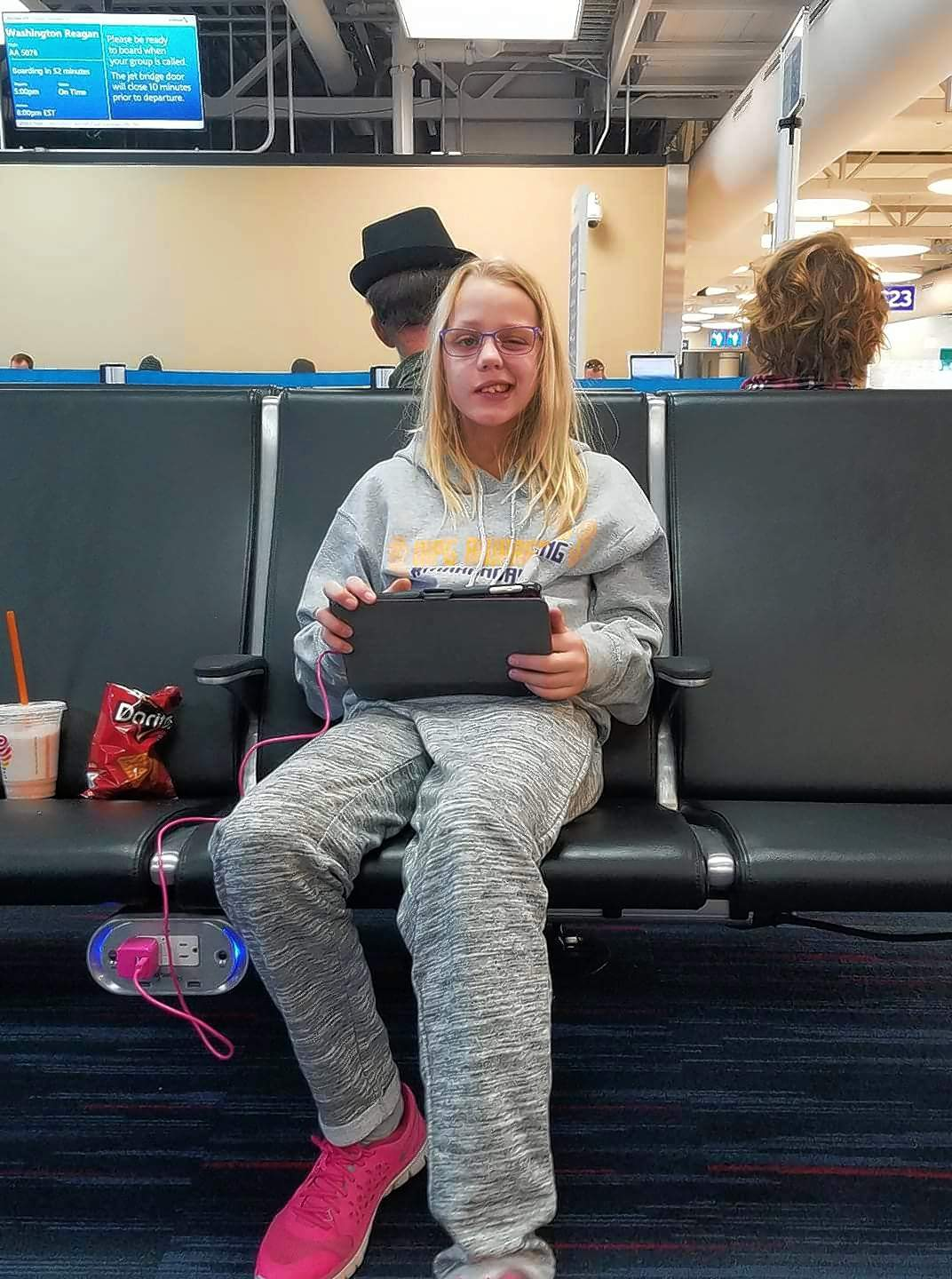 Courtesy Sarah Carlton/FacebookMakanda Williams waits at St. Louis' Lambert Field for a flight to Monterrey, Mexico, on Sunday. The 10-year-old Ewing girl underwent her first treatment yesterday for a brain tumor.