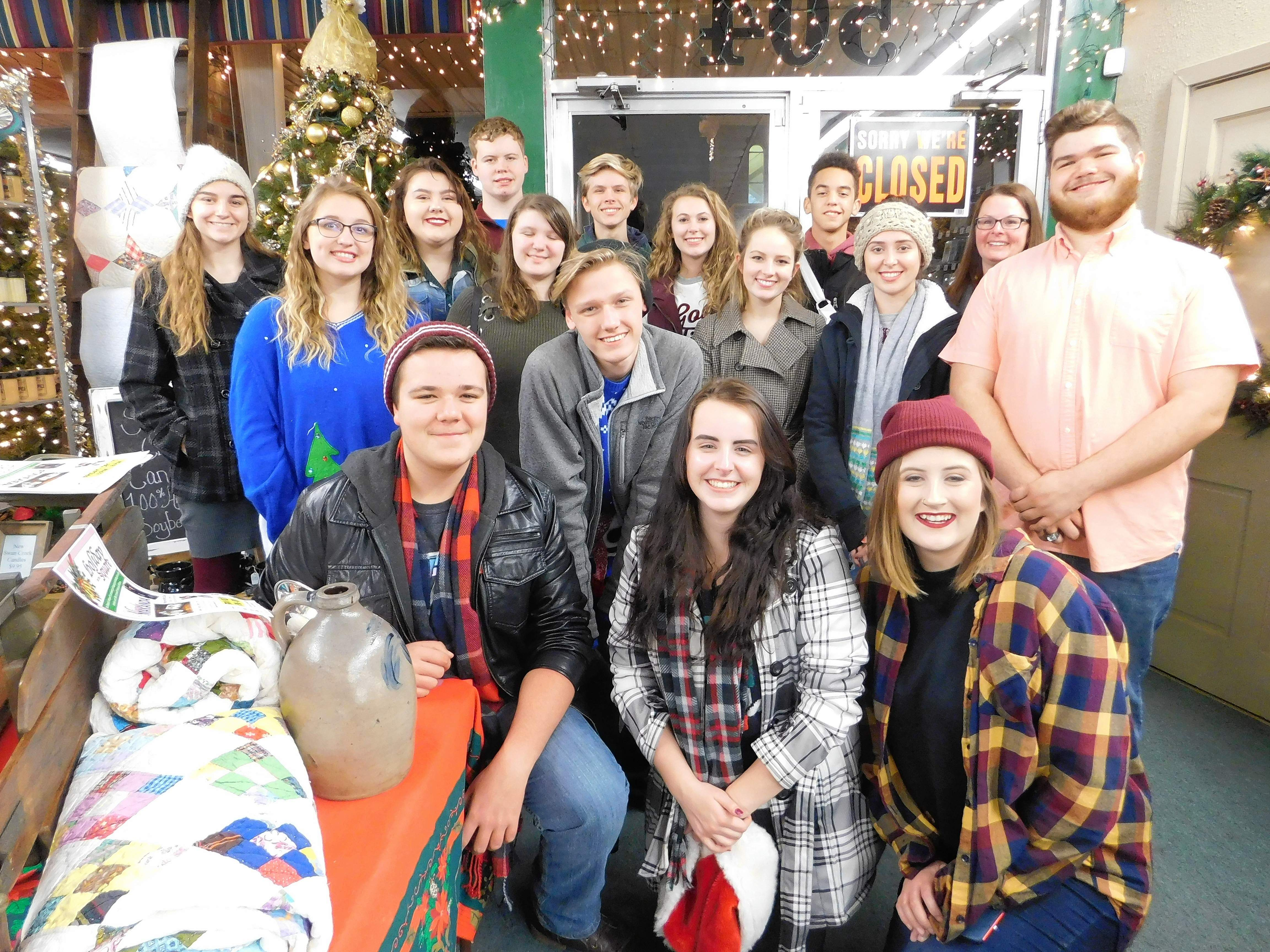 Members of the Benton High School Madrigals spent their Friday evening volunteering to provide entertainment for the Miracle for Makanda fundraiser. The group spent two hours caroling around the Square and at locals businesses that remained open to join the event. After performing the annual madrigal feast, the group has put in appearances at several local nursing homes, the retired teachers' luncheon, and will appear on WSIL's 'Sounds of the Season' Dec. 21.