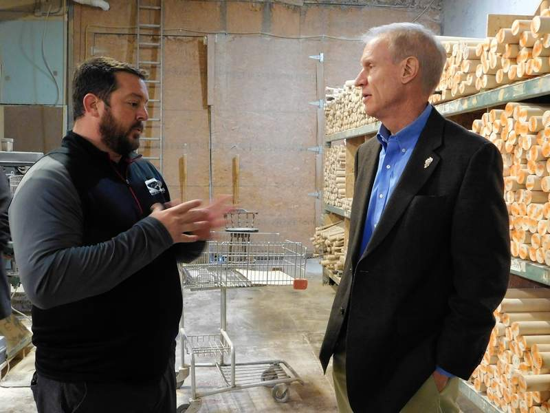 """Kyle Drone, one of the owners, explains the plant operations to Gov. Bruce Rauner, who visited the small business during an economic tour.  """"This is the foundation of our economic prosperity,"""" said Rauner.  """"It's important to help small business grow."""""""