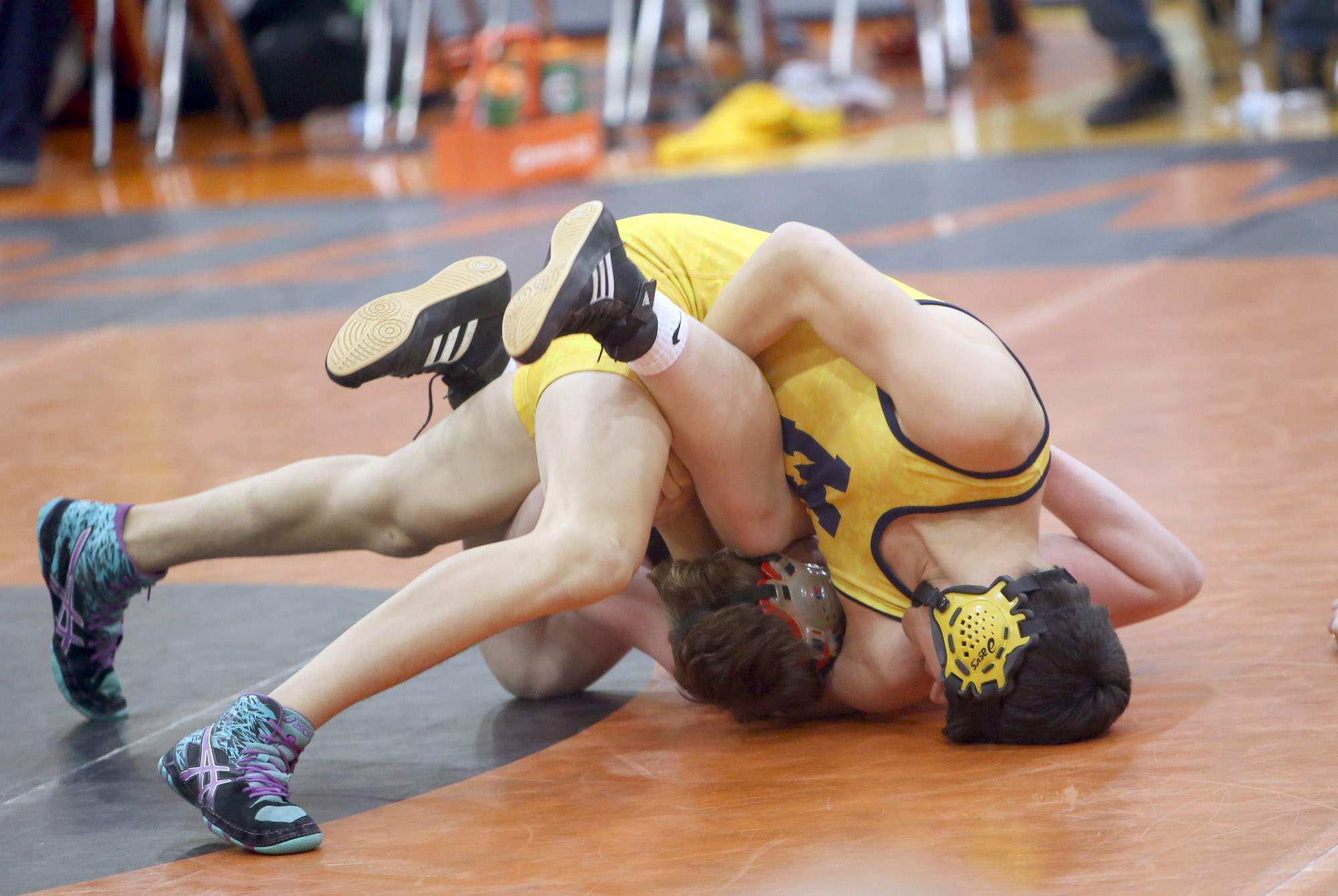 River Flute battles an opponent from Edwardsville Metro East Lutheran at the Carterville Duals on Saturday.