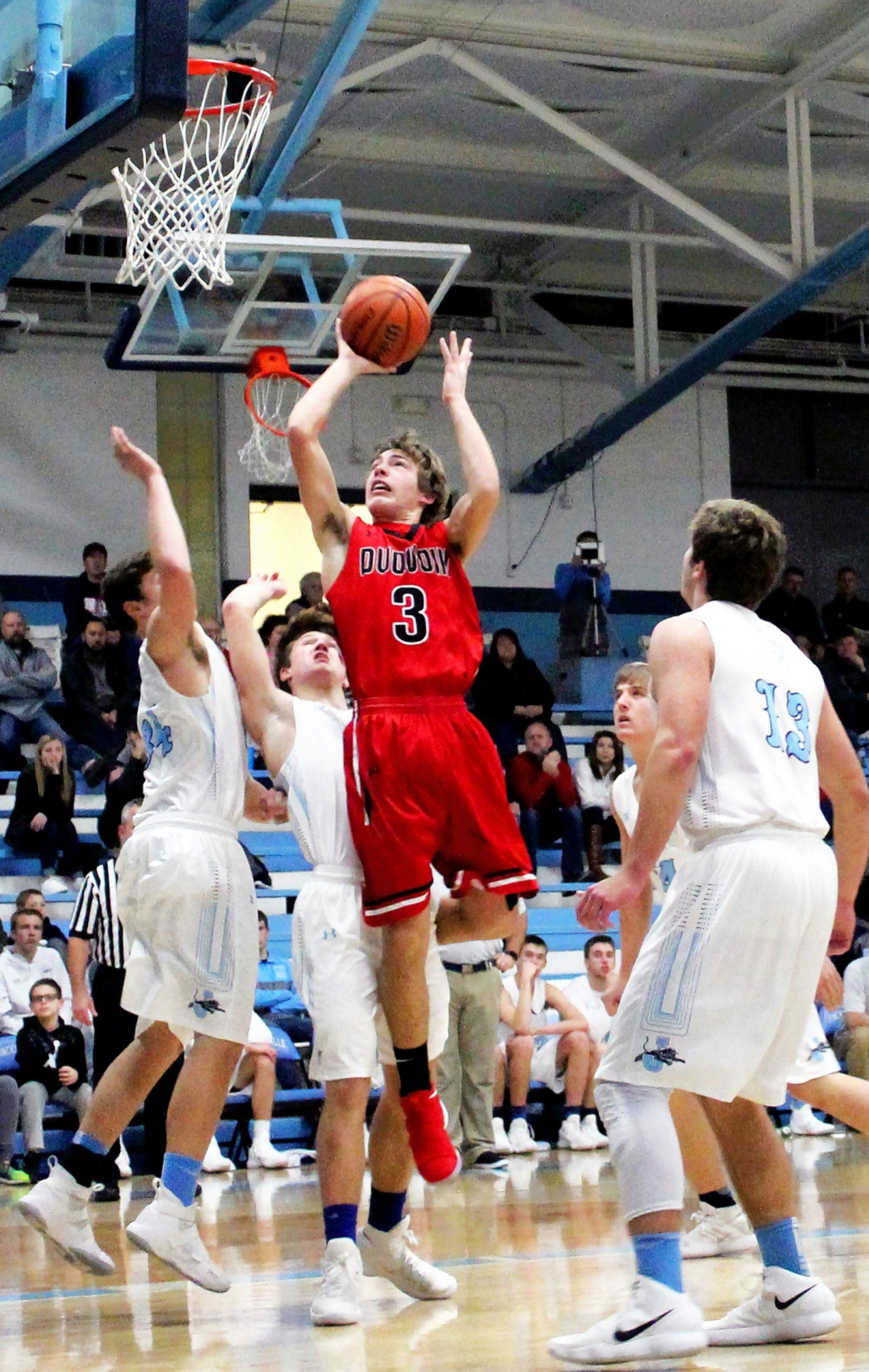 Du Quoin's Josh Heape makes a jump shot Friday during the Indians' first game of the Duster Thomas Hoops Classic against Jerseyville.