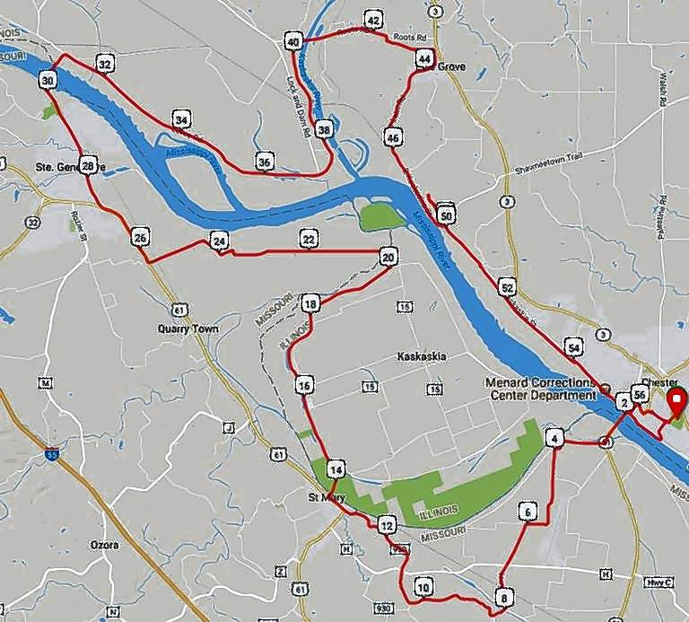 """Pictured is the route of the Feb. 3 """"Cannonball Ride"""" that begins and ends in Chester."""