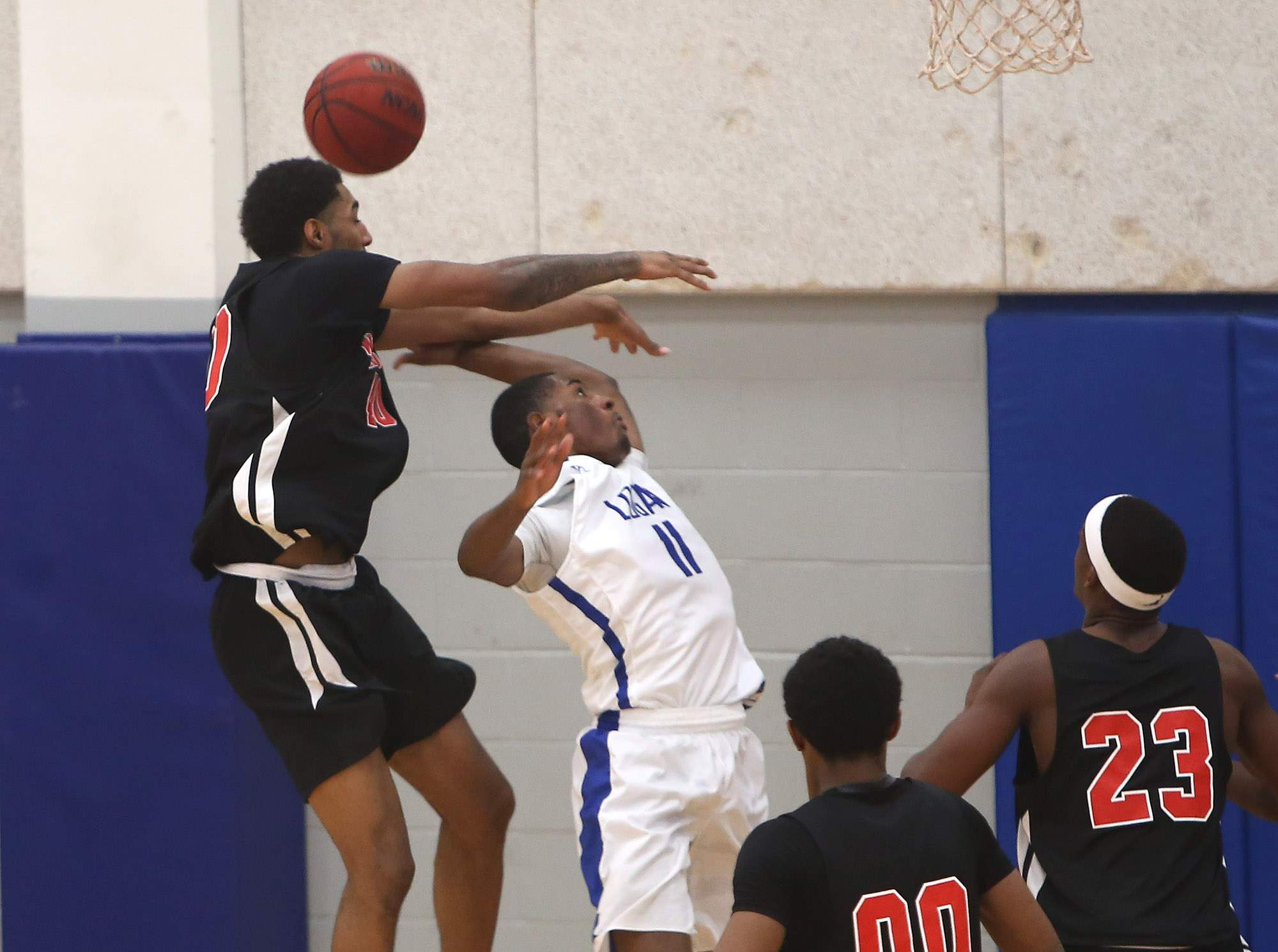 Vonnie Patterson draws a foul in Saturday's game.