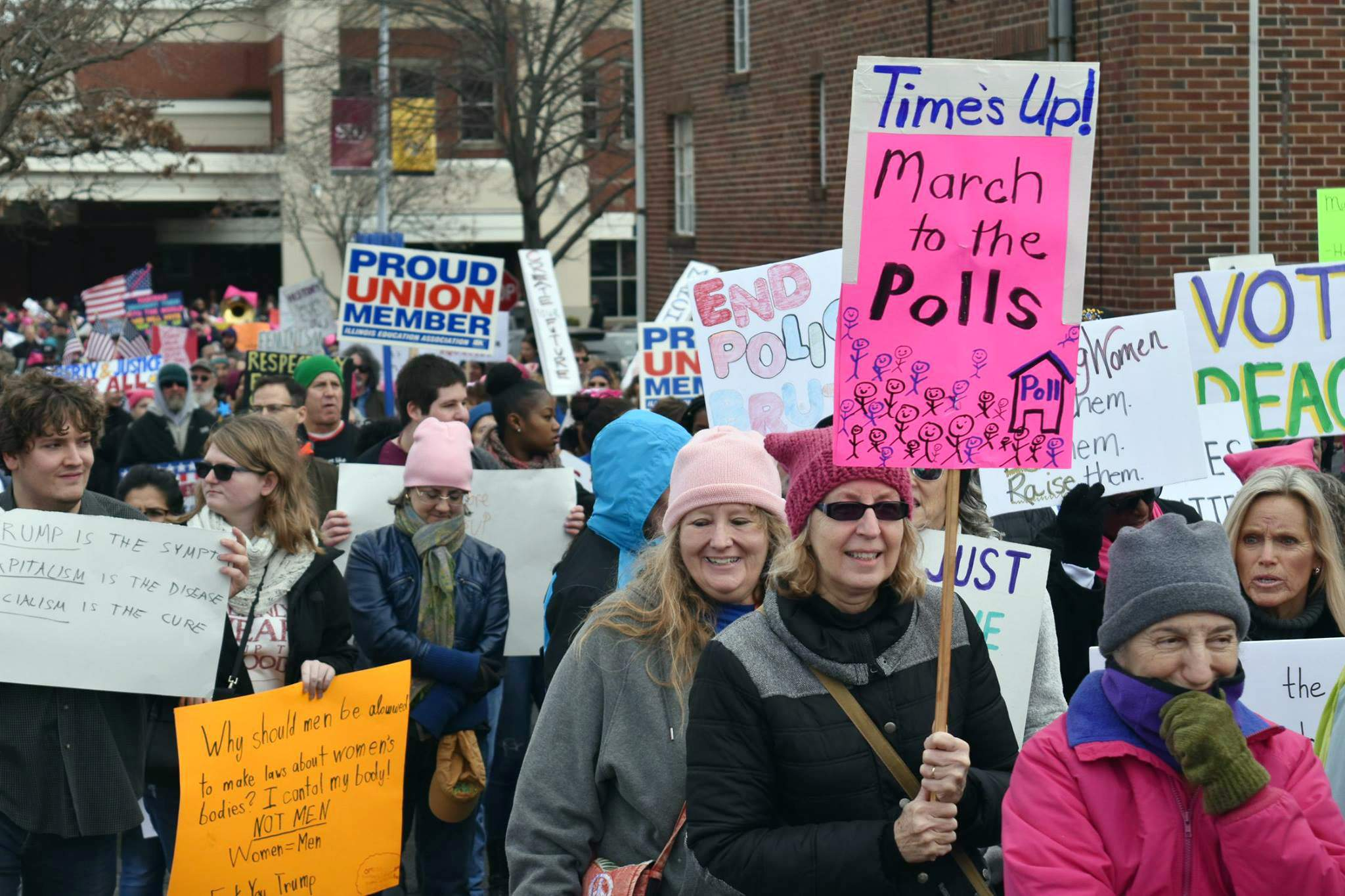 "A woman holds a ""March to the Polls"" sign during the Southern Illinois Women's March in Carbondale. Hundreds turned out from across the region to participate."
