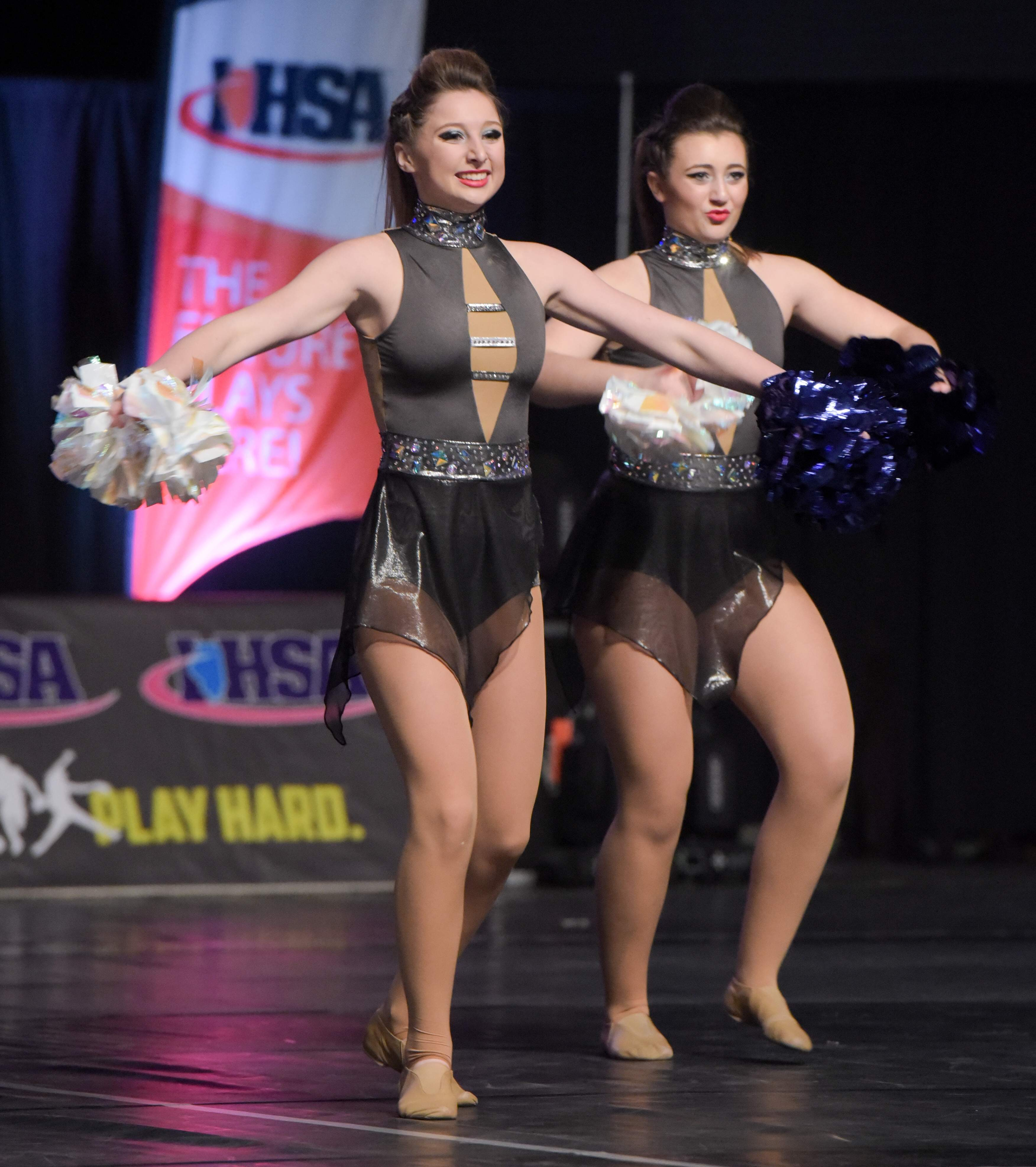 Jenna Leaton, left, and Jacey Nehring, of the Murphysboro dance team.