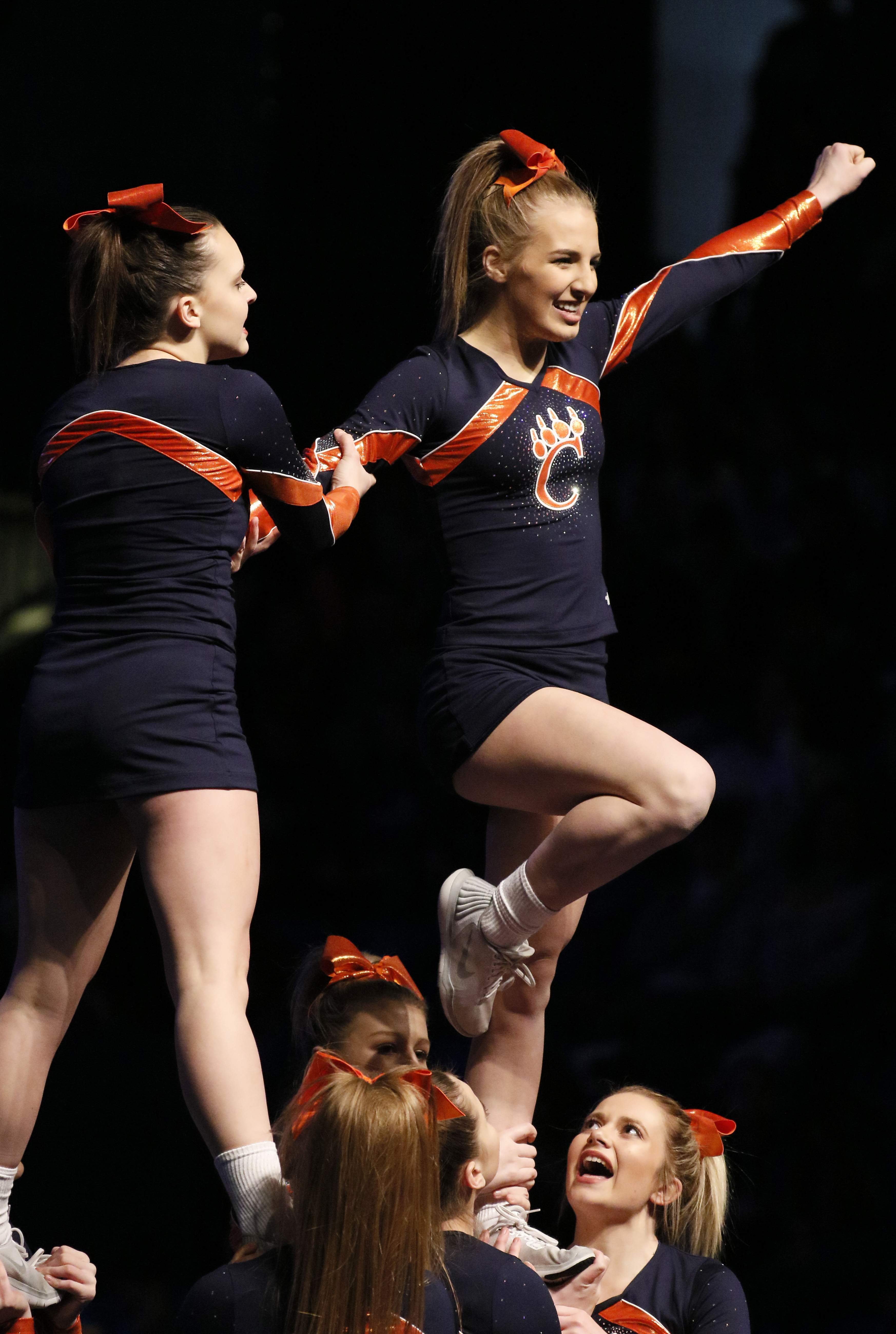 Carterville High School competes in the preliminary round of the IHSA Cheerleading finals in Bloomington on Feb. 2.