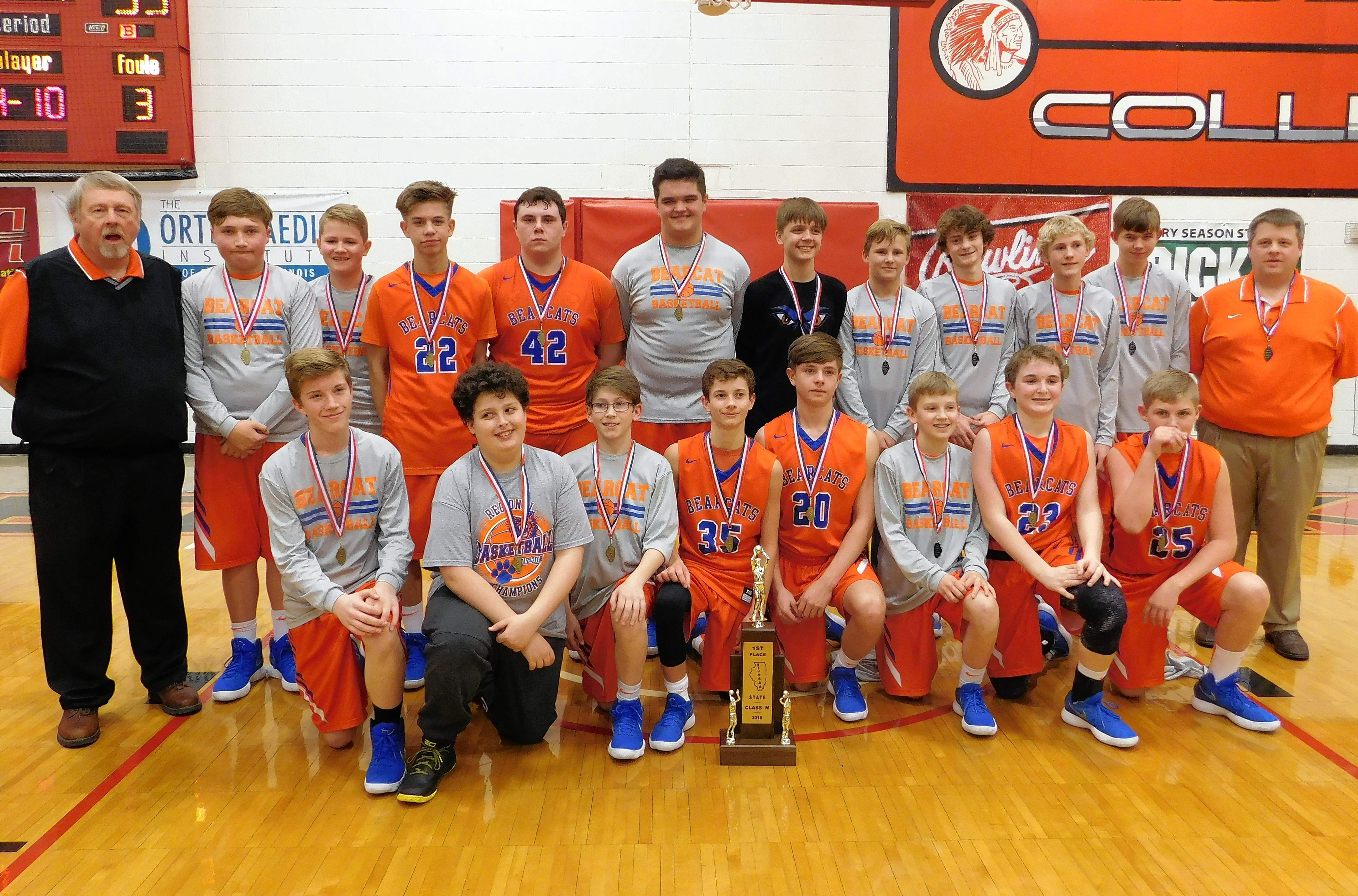 The Christopher Middle School Bearcats finished their season with a win and the first-place trophy at the IJHSAA state tournament held last week at Rend Lake College. The Bearcats finished the season with a 17-7 record. FOR THE FULL STORY, SEE PAGE 7.