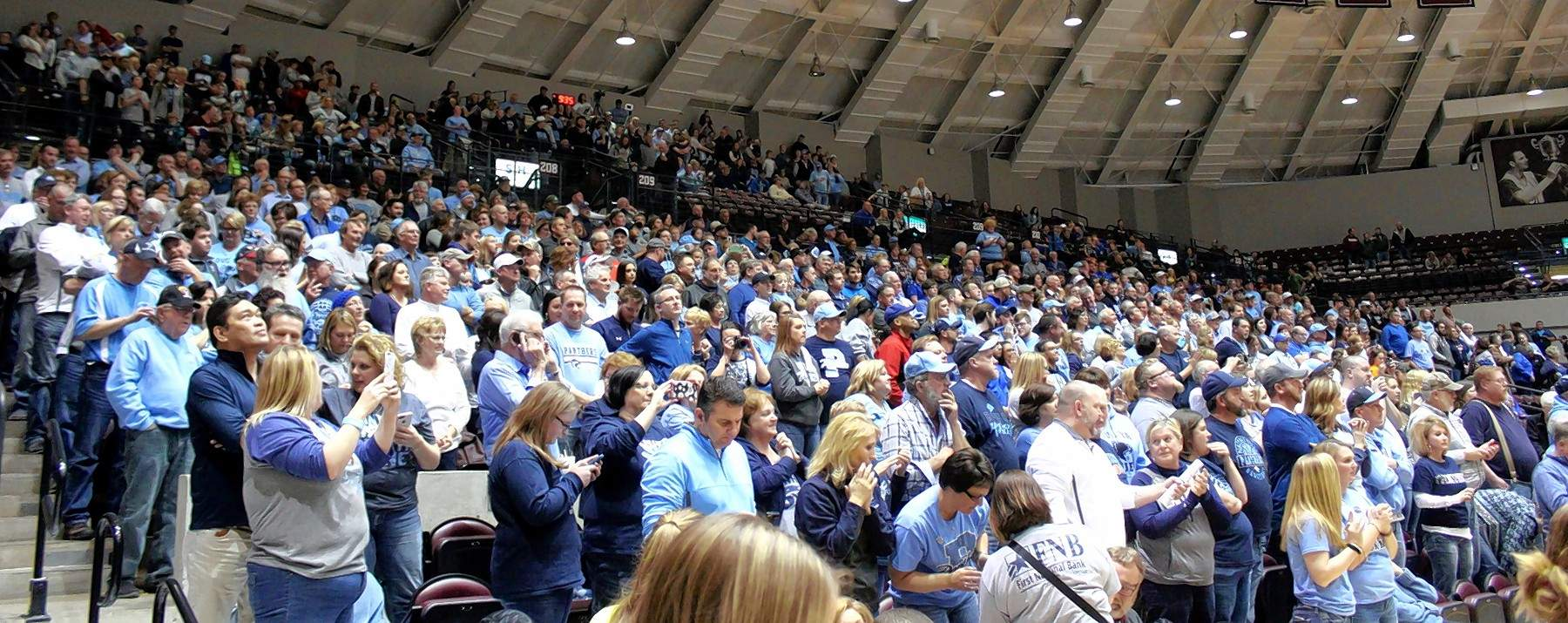 Pinckneyville fans cover the SIU Arena Tuesday in a sea of Panther Blue.