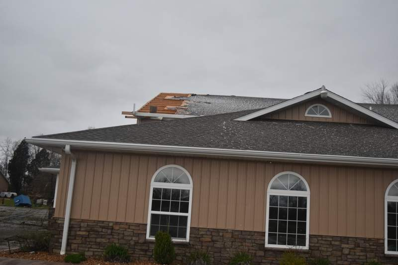 The roof of the Pine Lakes Golf Course in Herrin was ripped off the clubhouse when high winds tore through the community early Tuesday evening.