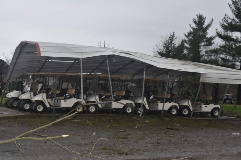 The metal awning that covers golf carts at Pine Lakes Golf Course in Herrin was bent out of shape following Tuesday's storm.