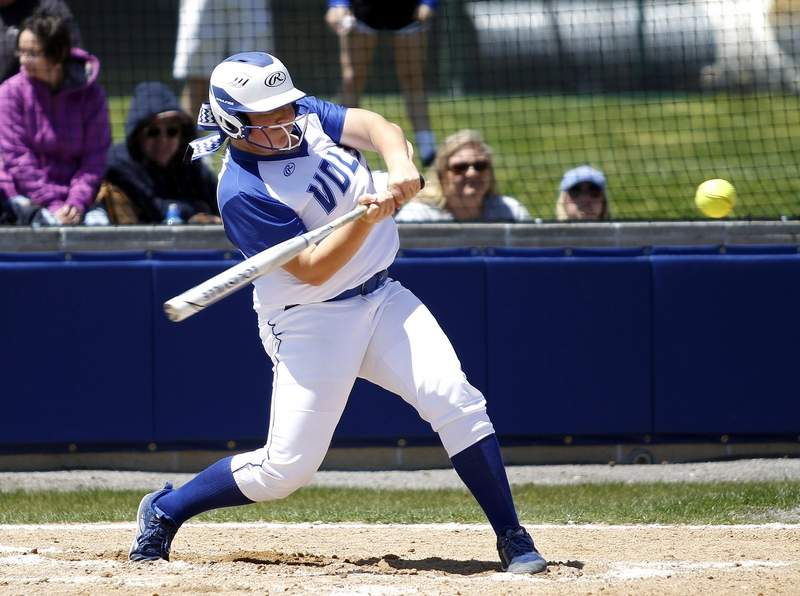 Ally Vaughn connects with a pitch during Saturday's action.