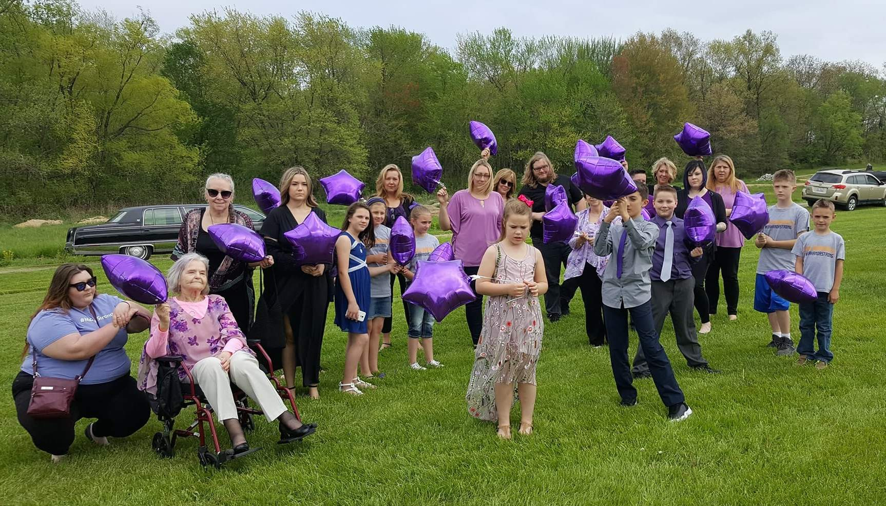 Family and friends released purple star balloons to honor Makanda as she was laid to rest at Benton's Masonic and Oddfellows Cemetery.