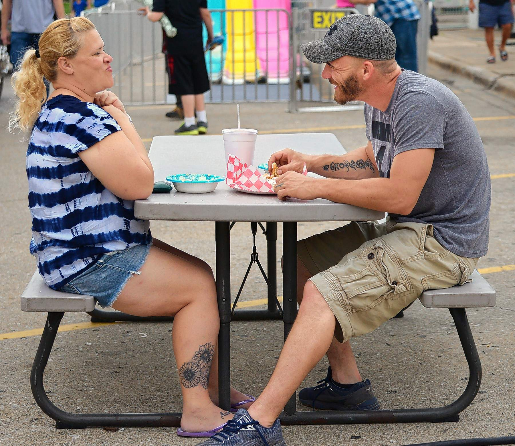 Brandon McReynolds and Christy Jasper chose a visit to the Rend Lake Water Festival carnival this past weekendto help celebrate two years of going together.The Benton couple shared some tasty carnival food before enjoying some of the rides on the midway.Asked which ride he would be trying, McReynolds replied, 'Any one she wants to!'