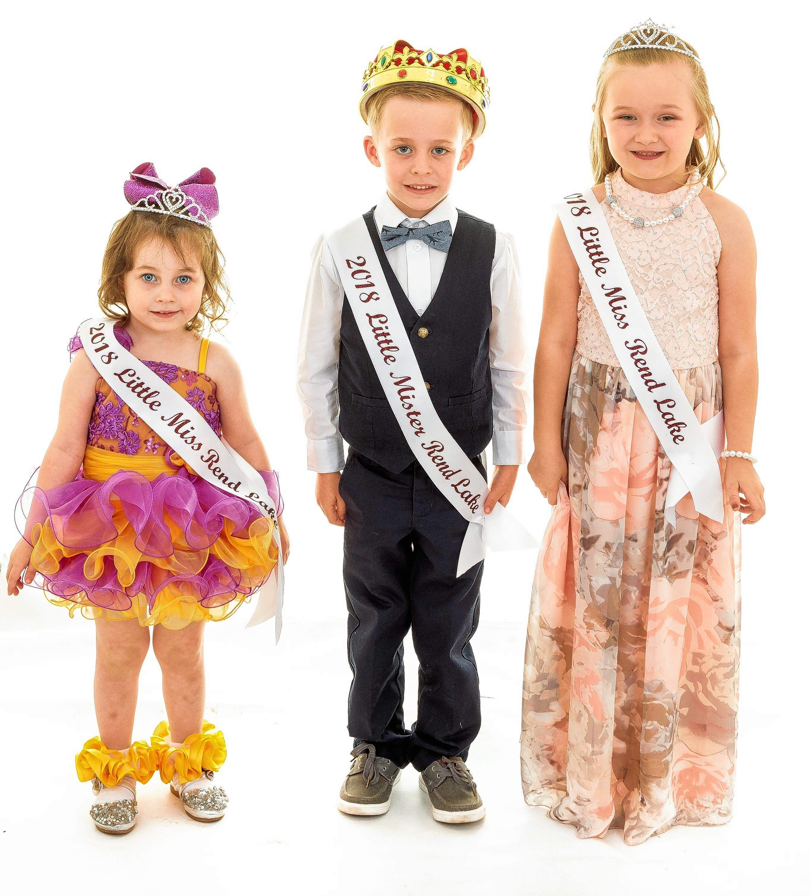 The Little Mrs. and Miss Rend Lake pageant winners were crowned on Friday evening. This year's royalty included (from left) Savannah Morris, age 2-4 winner; and Kyler Followell and Kynslee Perkins, age 5-8 winners.