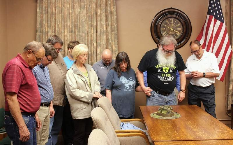 Pastors and church members from the Pinckneyville area gathered for prayer in the Perry County Courthouse last Thursday. Pastors included George Culley -- Least of the Brethren, Jeff Downard -- Winkle Baptist Church, Eric Drake -- Nine Mile Baptist Church, Lee Valerius -- Roe's Dale Baptist Church, Keith Tyler -- Trinity Assembly of God Church, and Marty DeRoche -- Denmark Baptist Church. The theme of Unity for the National Day of Prayer was emphasized in the prayers for local, state and national governmental leaders, schools and area communities.