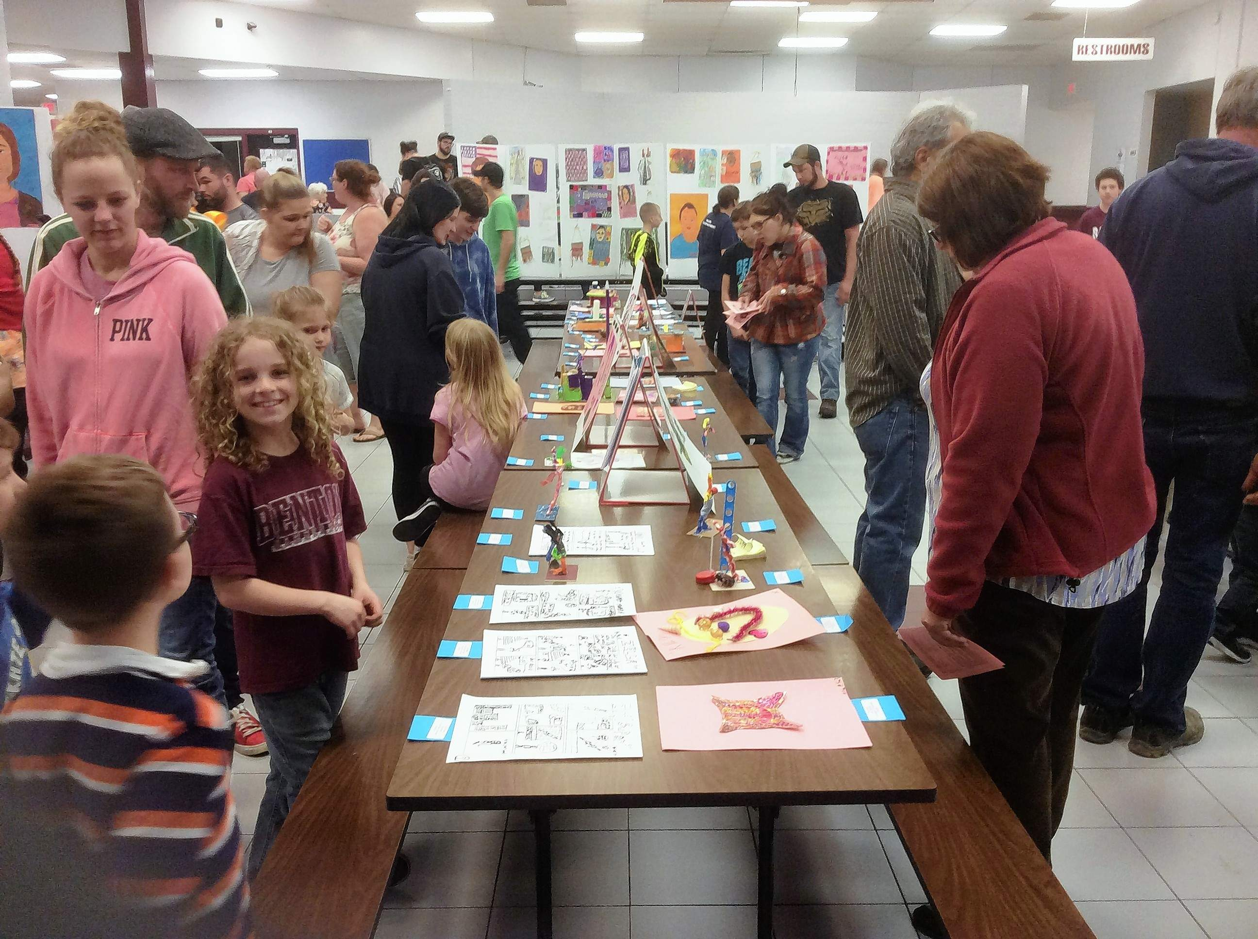 Many young artists and parents flocked to the Benton Middle School Gymnasium and Commons April 24 to see hundreds of K-8 works on display.