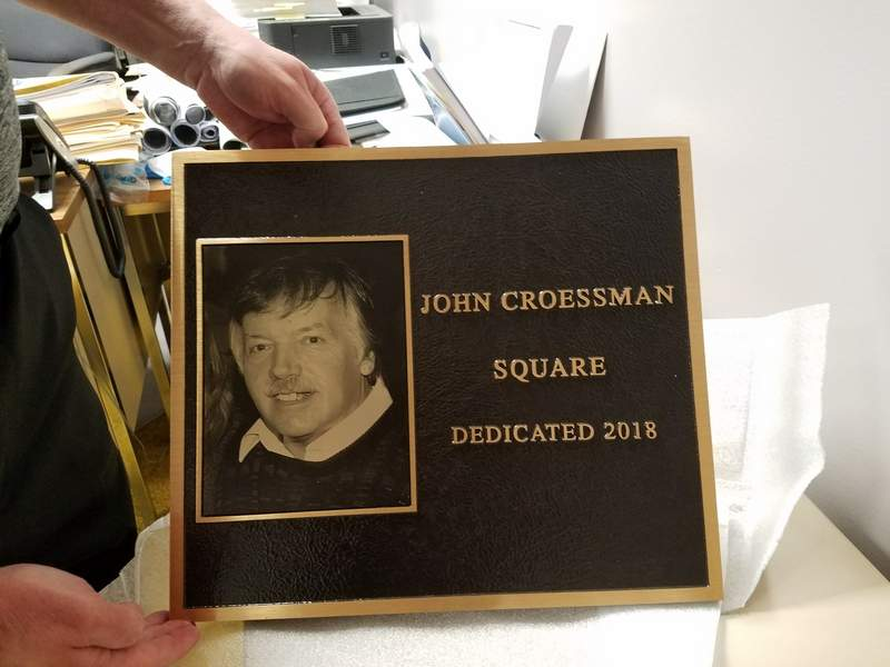 Shown here is the plaque honoring longtime Du Quoin Evening Call editor John Croessman when a public meeting place downtown is dedicated in his name next month.