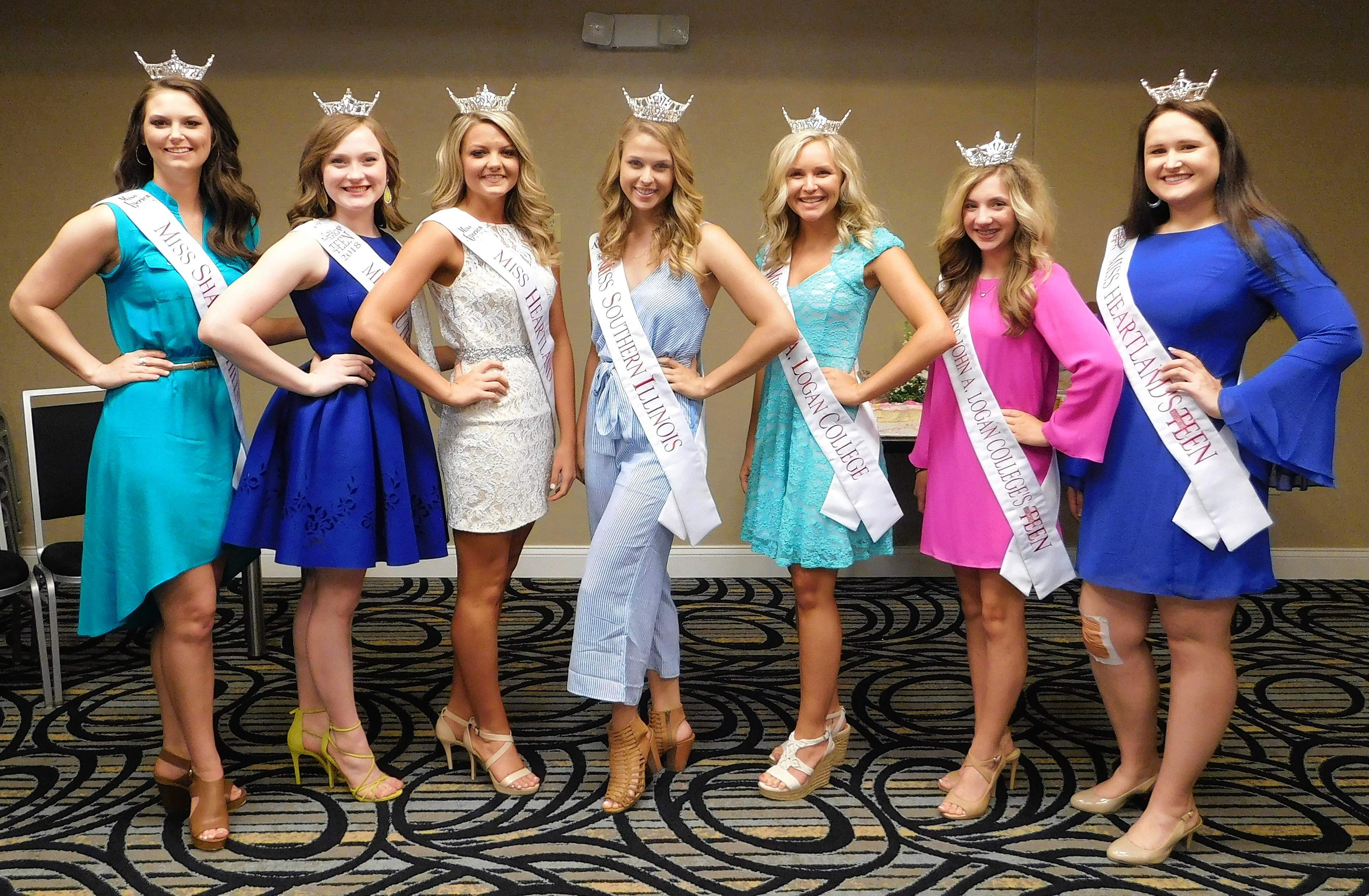 Mandy March, Victoria Shore, Breana Bagley, Brittany Albrecht, Darcy Dreyer, Tara Kay Tanner, and Anna Madura meet at the Marion Holiday Inn Express Sunday afternoon to kick off Miss Illinois week.  The Miss Illinois and Miss Illinois Outstanding Teen competitions will be held at the Marion Cultural and Civic Center beginning on Wednesday.