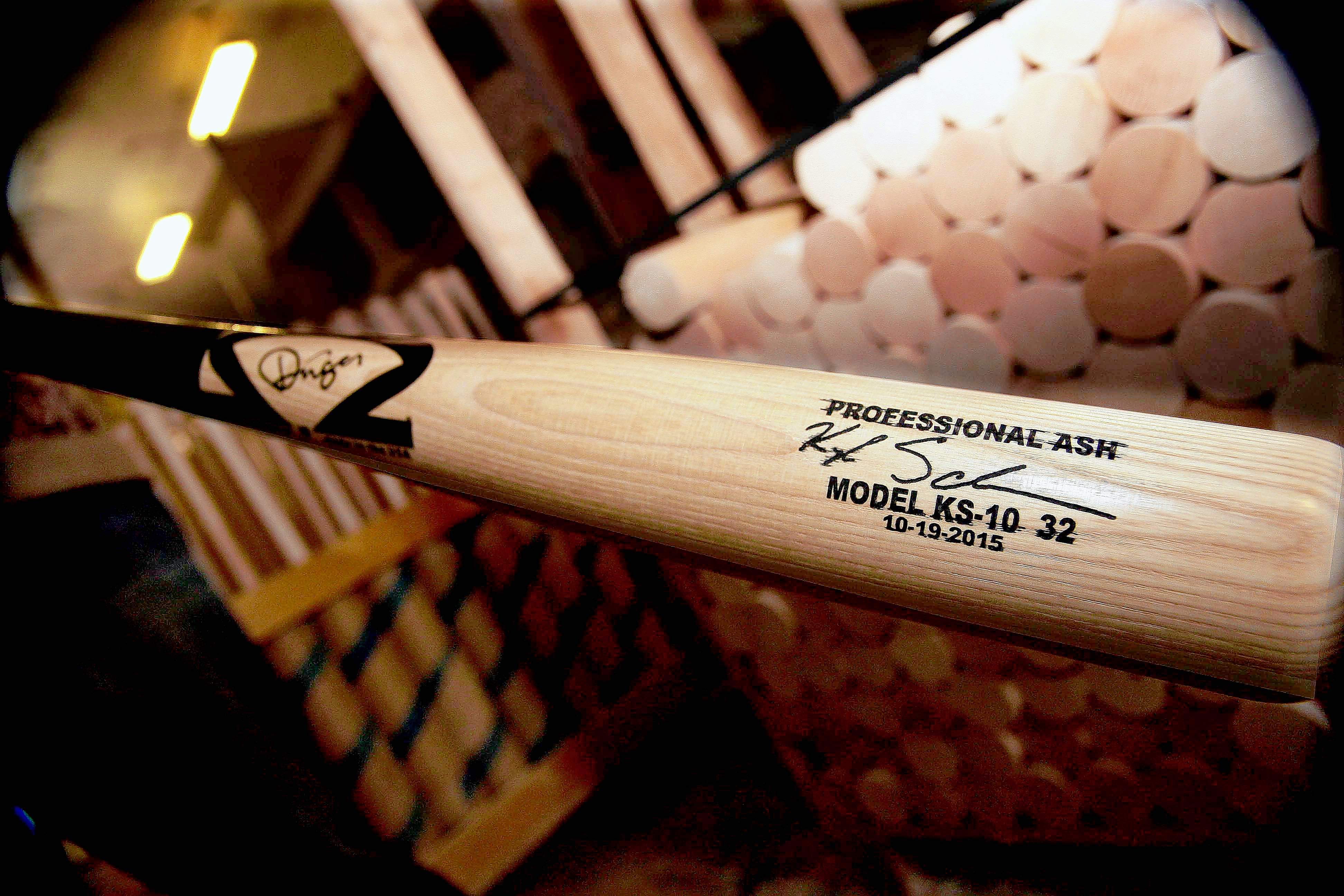 A model KS-10 bat like the ones swung by Chicago Cubs outfielder Kyle Schwarber.