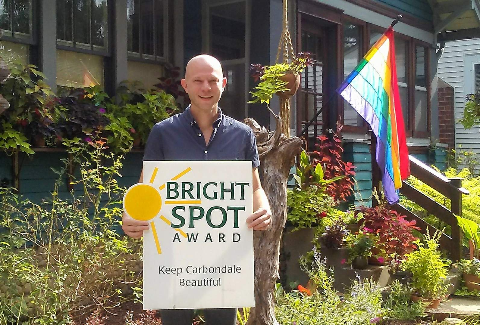 Darren Ackerman is the most recent winner of Keep Carbondale Beautiful's Bright Spot Award.