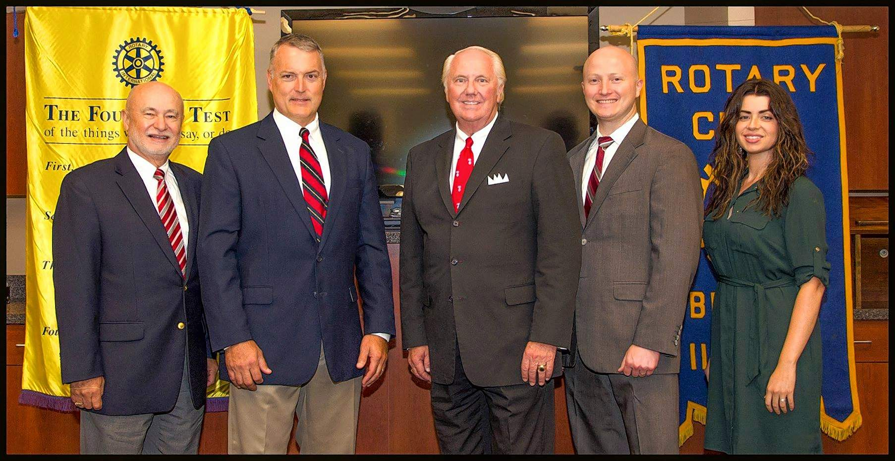 The Benton Rotary Club recently had a changing of the guard with new officers for the 2018-19 fiscal year. From left to right are John D. Aiken, secretary; Derek Johnson, vice president; Ken Burzynski, president; Jonathan Cantrell, sergeant at arms; and Hillary Remm, treasurer. Not shown is Steve Pate, past president. The Benton RotaryClub meets at noon every Tuesday in the Franklin Hospital Conference Room. Members enjoy a hot meal and take turns bringing in a guest speaker. For more information, follow theBenton Rotary Club on Facebook.