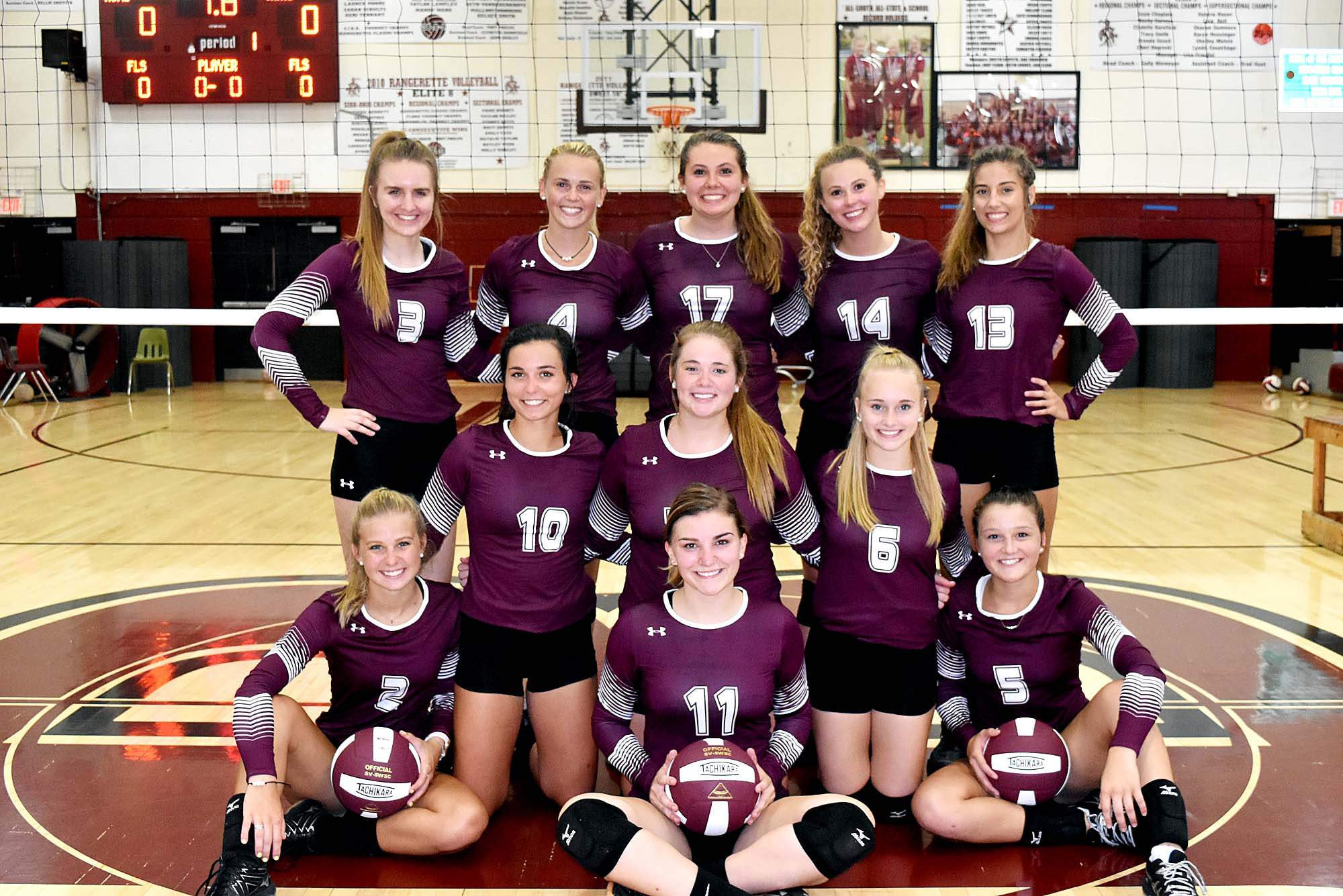 Members of the Benton High School volleyball team include: front, Ember Milby; second row from left: Sheridan Campbell, Madi McLain, Zoe Carlton, Cailyn Fowlkes and Presley Allsopp. Back row: Kaitlyn Kuchar, Kiley Carter, Sesley Tedeschi, Mady Darr and MaKenna Mumbower.