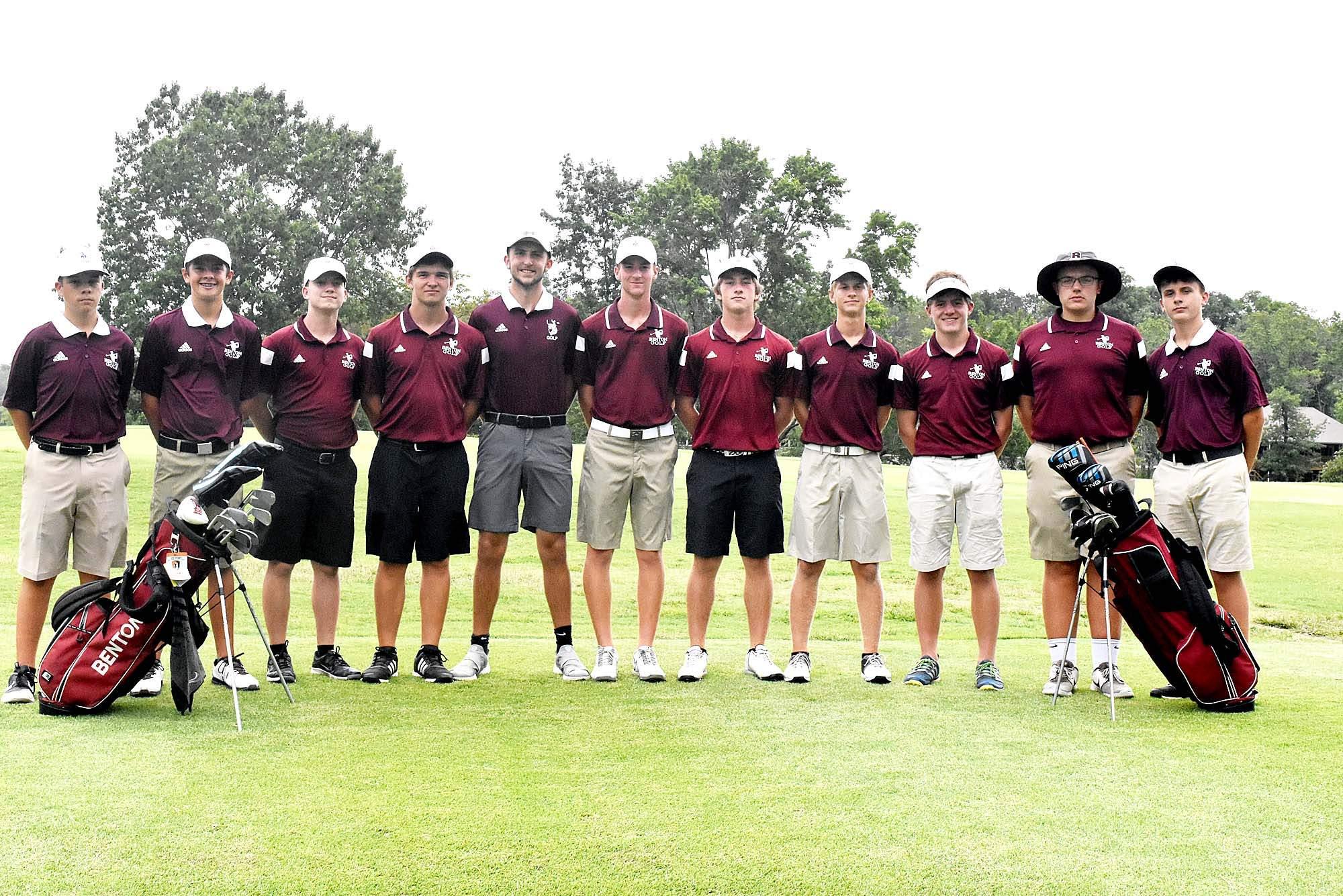 RICK HAYES PHOTOBenton High School golf team members from left are: Andrew Bell, Peyton Sieveking, Cole Brugger, Eldon Owens, Robbie Moore, Brendan Luster, Brad Hammond, Jared Shaw, Brett Merkel, Collin Miller and Keaton House.
