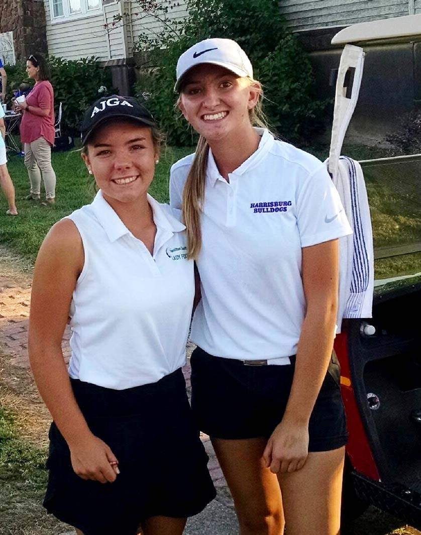 Hamilton County's Kylee Vaughn (left) shot a low-round 36 for medalist honors Tuesday at Shawnee Hills Country Club, while Harrisburg's Madison McClusky (right) had a 37 for the Bulldogs