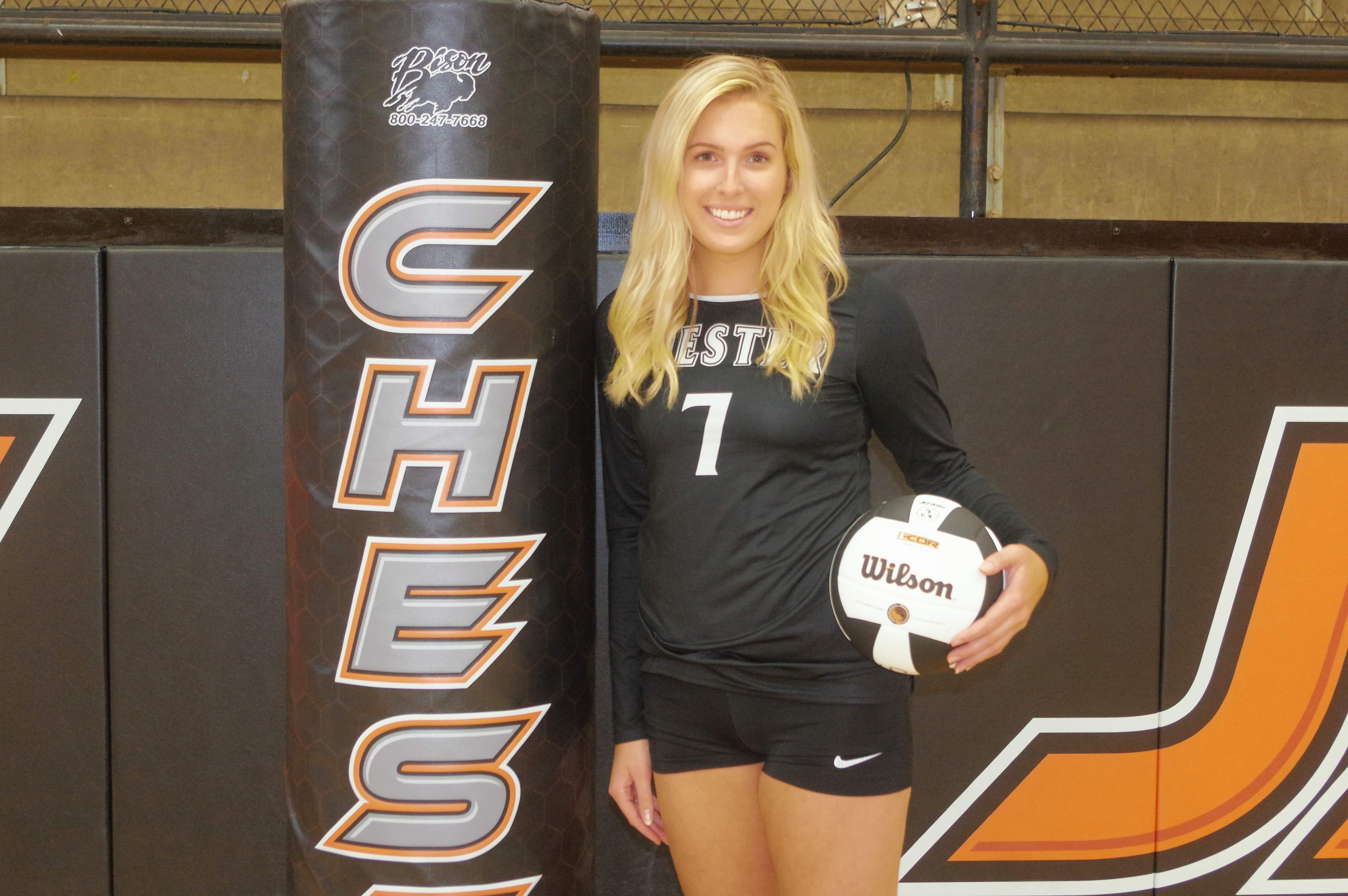 Chester's Lauren Welge was named to the 2018 Marissa/Coulterville Labor Day All-Tournament Team. Welge, a senior, helped her varsity squad win 3-of-5 matches in three days to place sixth out of 12 teams in the tournament.