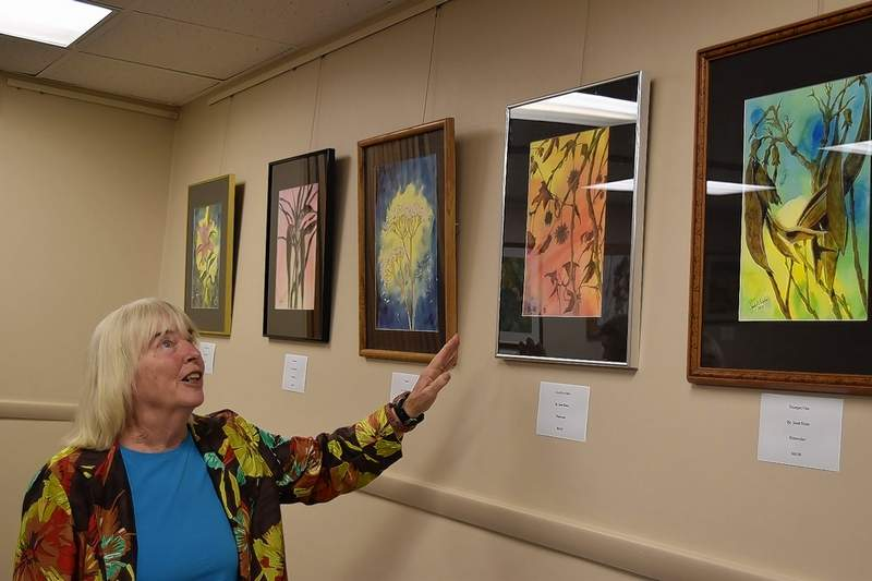 """Eldorado artist Janet Bixler is behind """"Janet's Organics,"""" an exhibit of her art at the Harrisburg District Library. The show is moving to SIC later this month."""