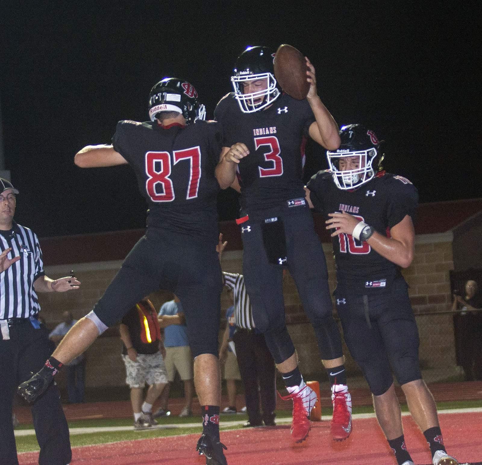 Josh Heape celebrates a touchdown.