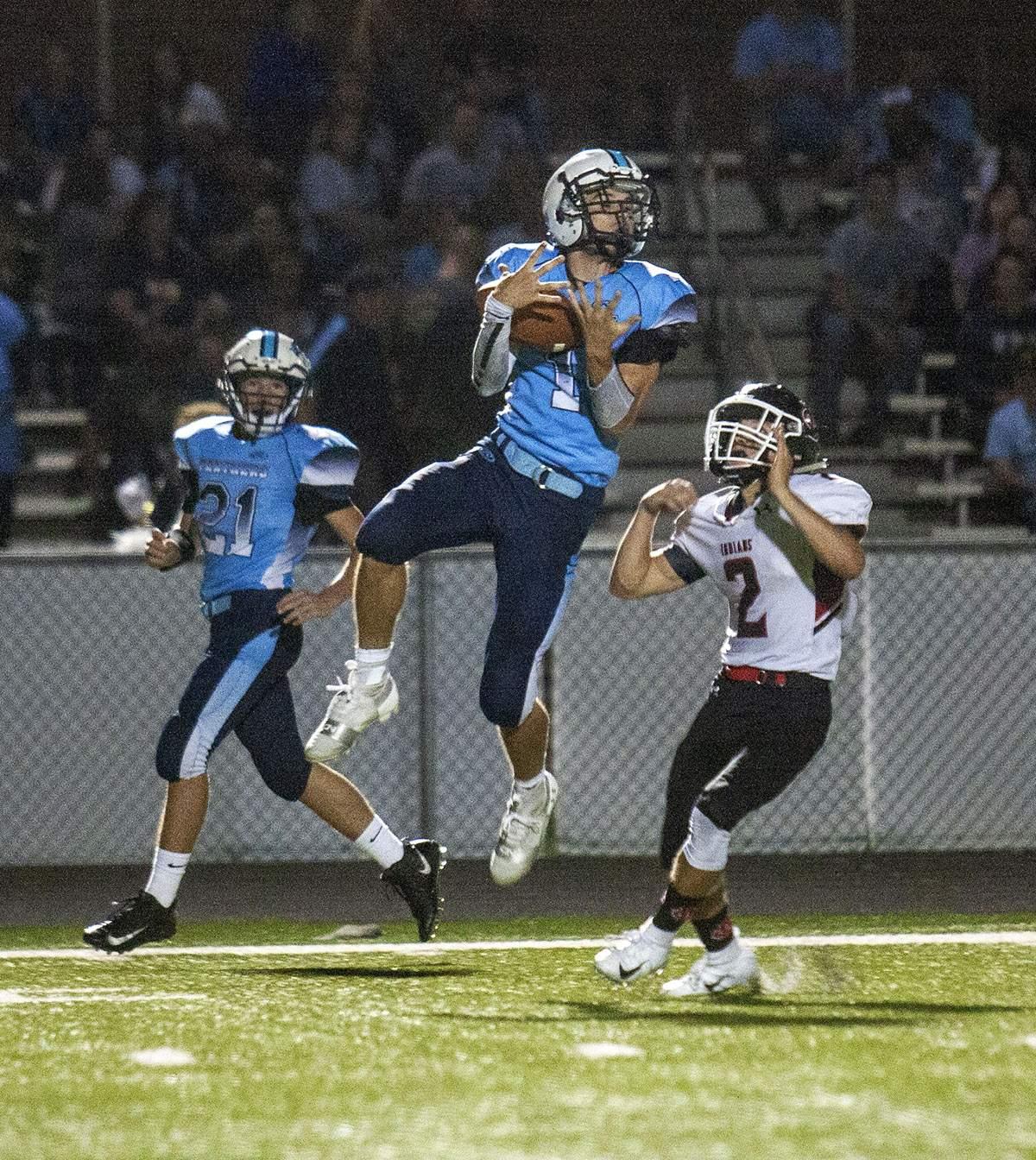 Lucas Downard makes a catch.