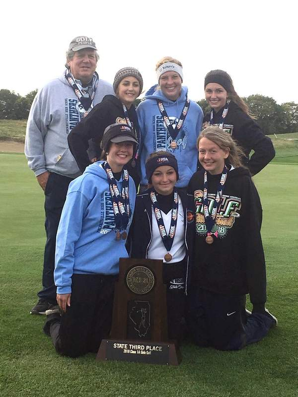 Pinckneyville's girls golf team poses with the 1A state tournament third-place trophy Saturday.