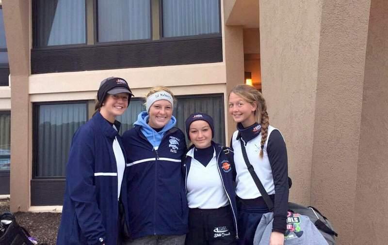 Megan Breslin, Kally Mayo, Graci McDaniel and Sarah Breslin pose after their final round together.