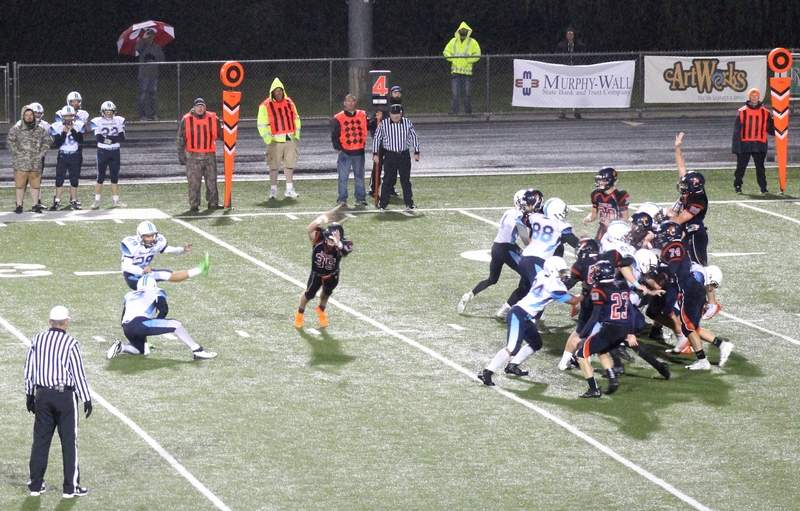 Pinckneyville's Ben Restoff kicks a field goal for the Panthers' only points of Friday's loss to Carterville.