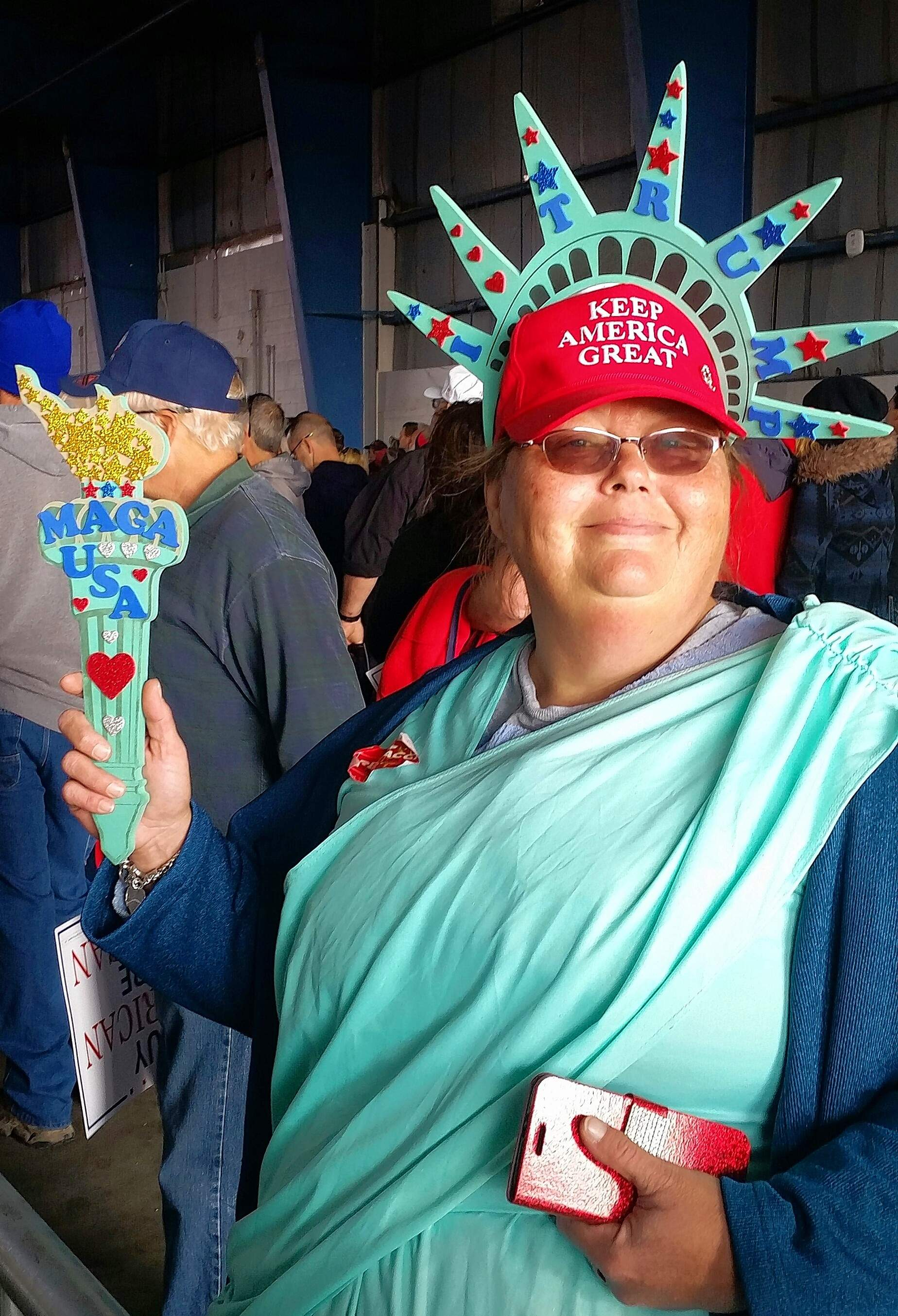 "Calling herself ""Lady Liberty for Trump,""Toni Eaton of Champaign came to the Murphysboro rally. She's been portraying Lady Liberty at Trump rallies since 2016 and just started her own Facebook page."