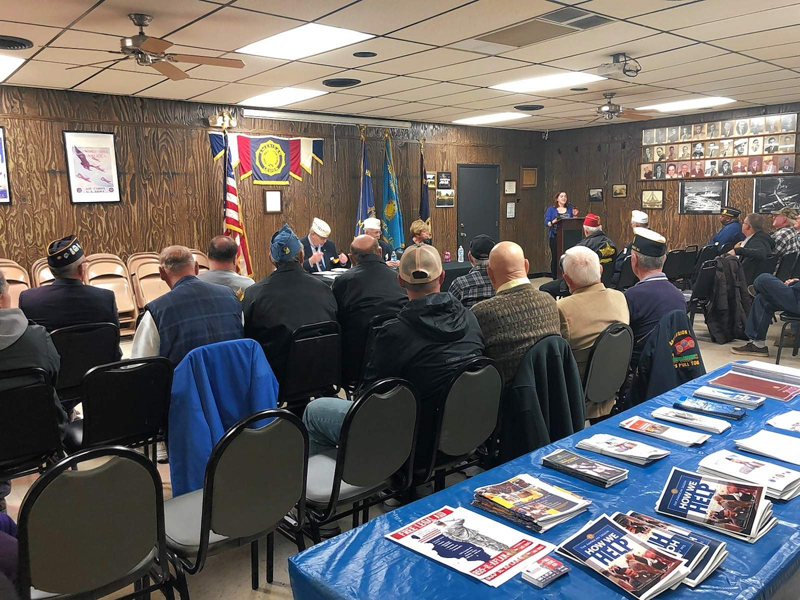About 30 area veterans gather for a town hall at the Herrin American Legion Monday evening.
