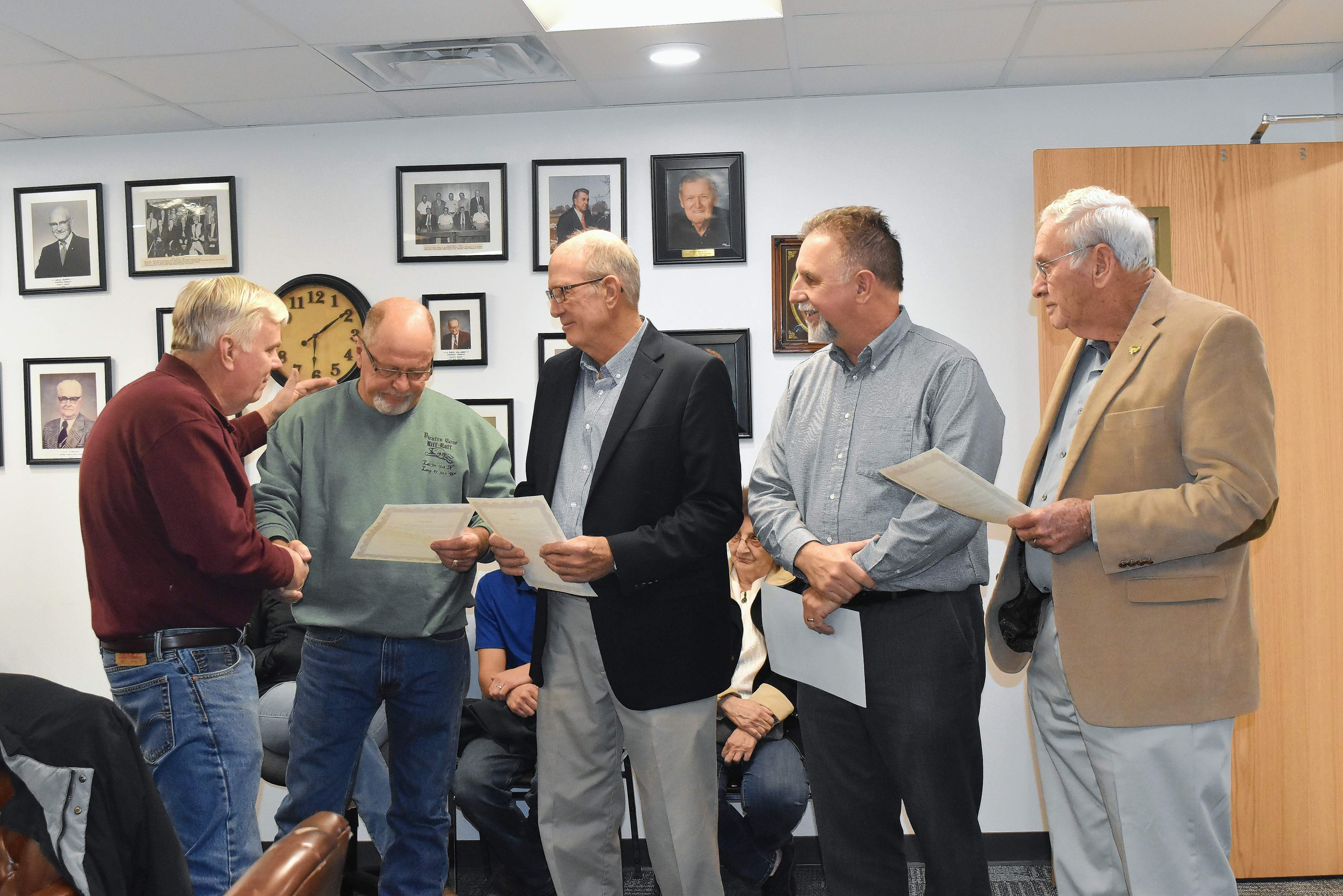 Franklin County Board Chairman Randall Crocker presents certificates of appreciation to board members (from left) Danny Melvin, Tom Vaughn, Robert Pierce and David Rea during the Nov. 20 meeting. Vaughn and Rea retired from the board; Melvin and Pierce were defeated in the Nov. 6 election.