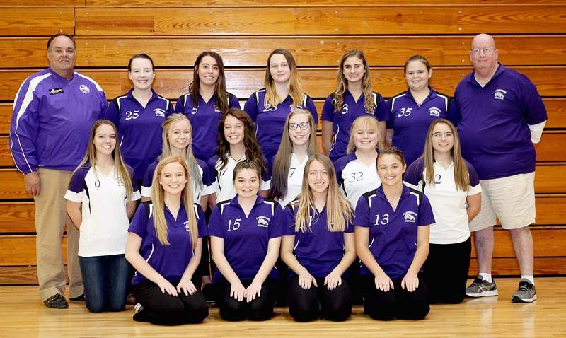 Members of the 2018-19 Harrisburg girls' bowling team include (front row, from left) Lexie Cox, Hannah Foster, Graci Doggett and Chaela Sparks. Second row, from left, Vivian Fuerback, Laken Moore, Rowan Cluck, Kaylen Pate, Riley Wright and Haleigh Collins. Back row, from left, Assistant coach Barry McDermott, Claire McDermott, Trinity Cluck, CharAnn Elliott, Macie McDowell, Reagan Brothers and head coach Doug Cottom.