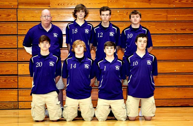 Members of the 2018-19 Harrisburg boys' bowling team include (front row, from left) Devin Davis, Dylan Crank, Brock Bergman and Jaden Oglesby. Back row, from left, coach Doug Cottom, Nolan Bebout, Brody Irvin and Sebastian Barton.