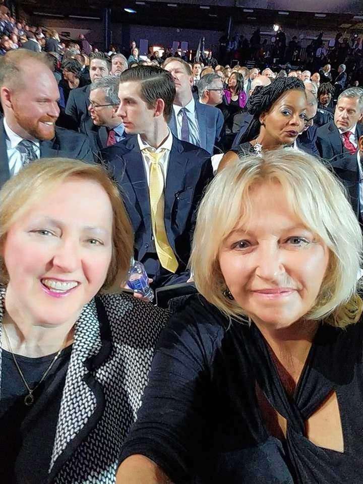 Vivian Robinson takes a selfie prior to the inauguration of Gov. J.B. Pritzker Monday.