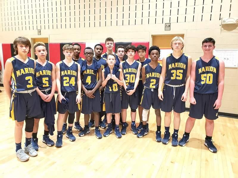 The MJHS boys basketball team.